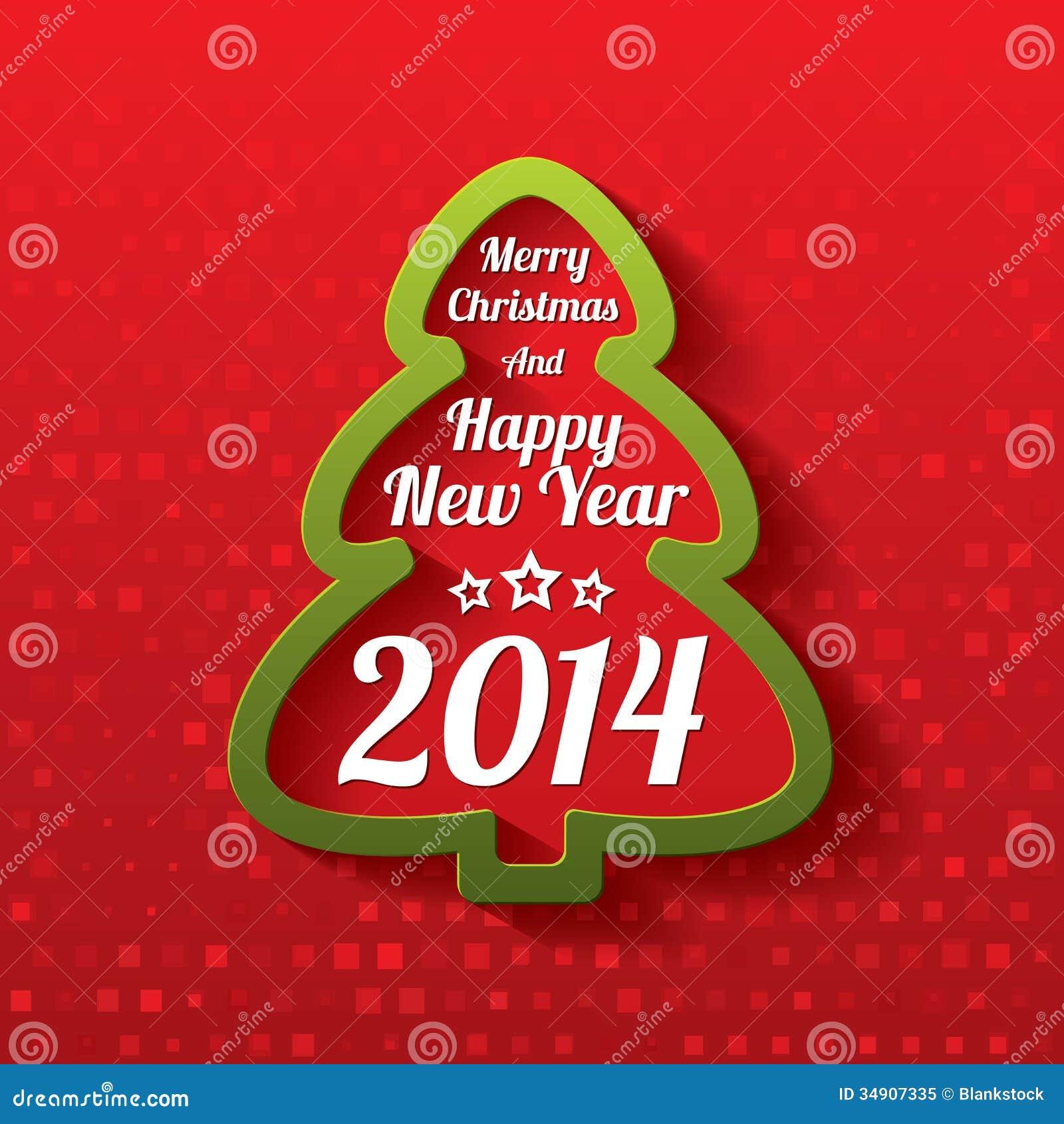 Carte De Voeux D'arbre De Joyeux Noël. 2014. Illustration de