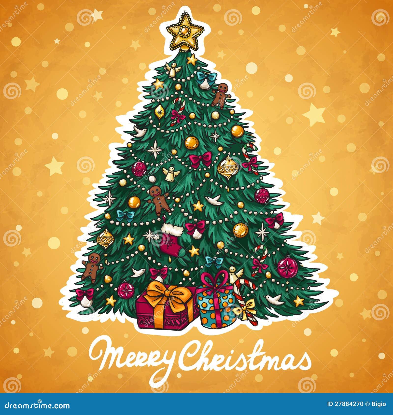 Carte de voeux d arbre de Noël