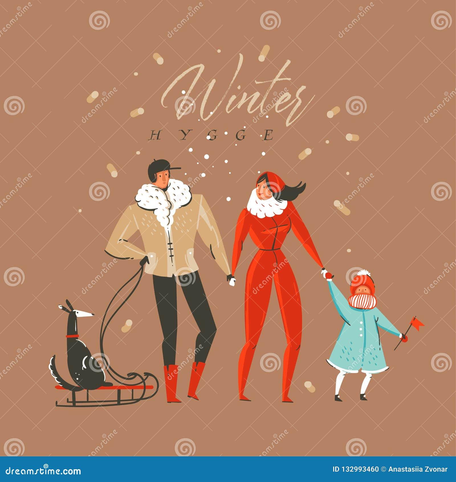 Carte de voeux d illustration de bande dessinée de temps de Joyeux Noël et de bonne année vecteur d amusement tiré par la main d