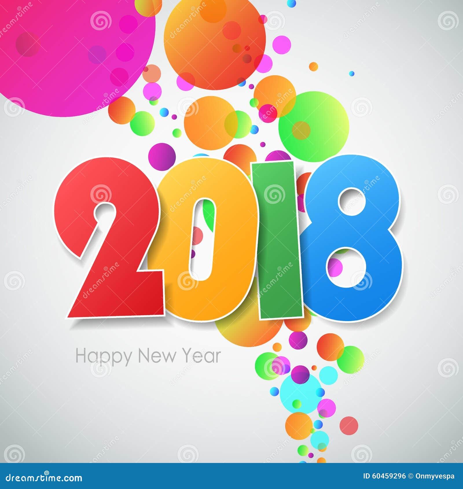 Cute Happy New Year Clock Image 2018 Clipart. At February , 2018. Carte De  Voeux 2018 De Bonne Année Illustration De Vecteur   Image: 60459296