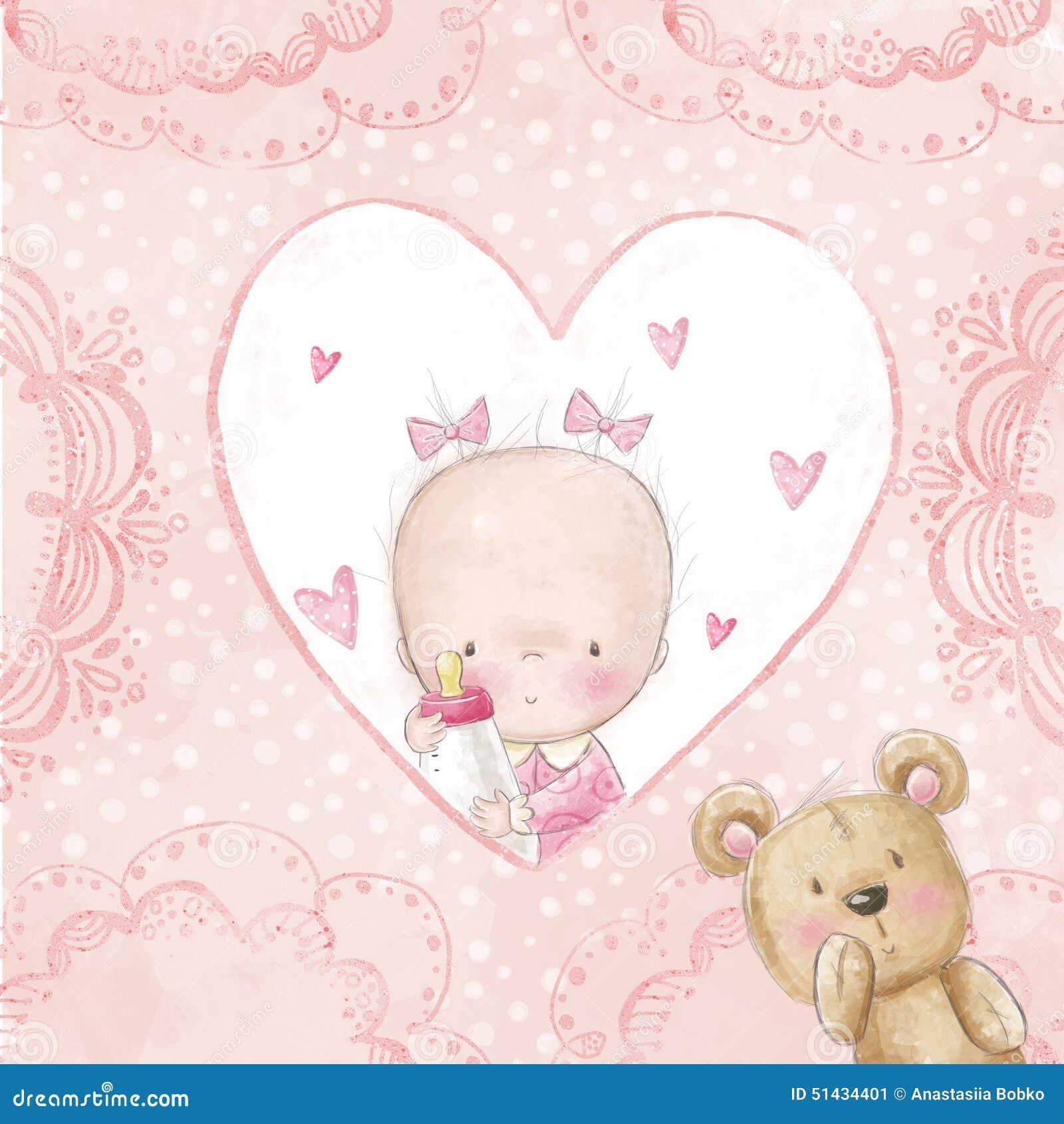 Carte de voeux de f te de naissance b b avec le nounours fond d 39 amour p - Fete pour naissance bebe ...
