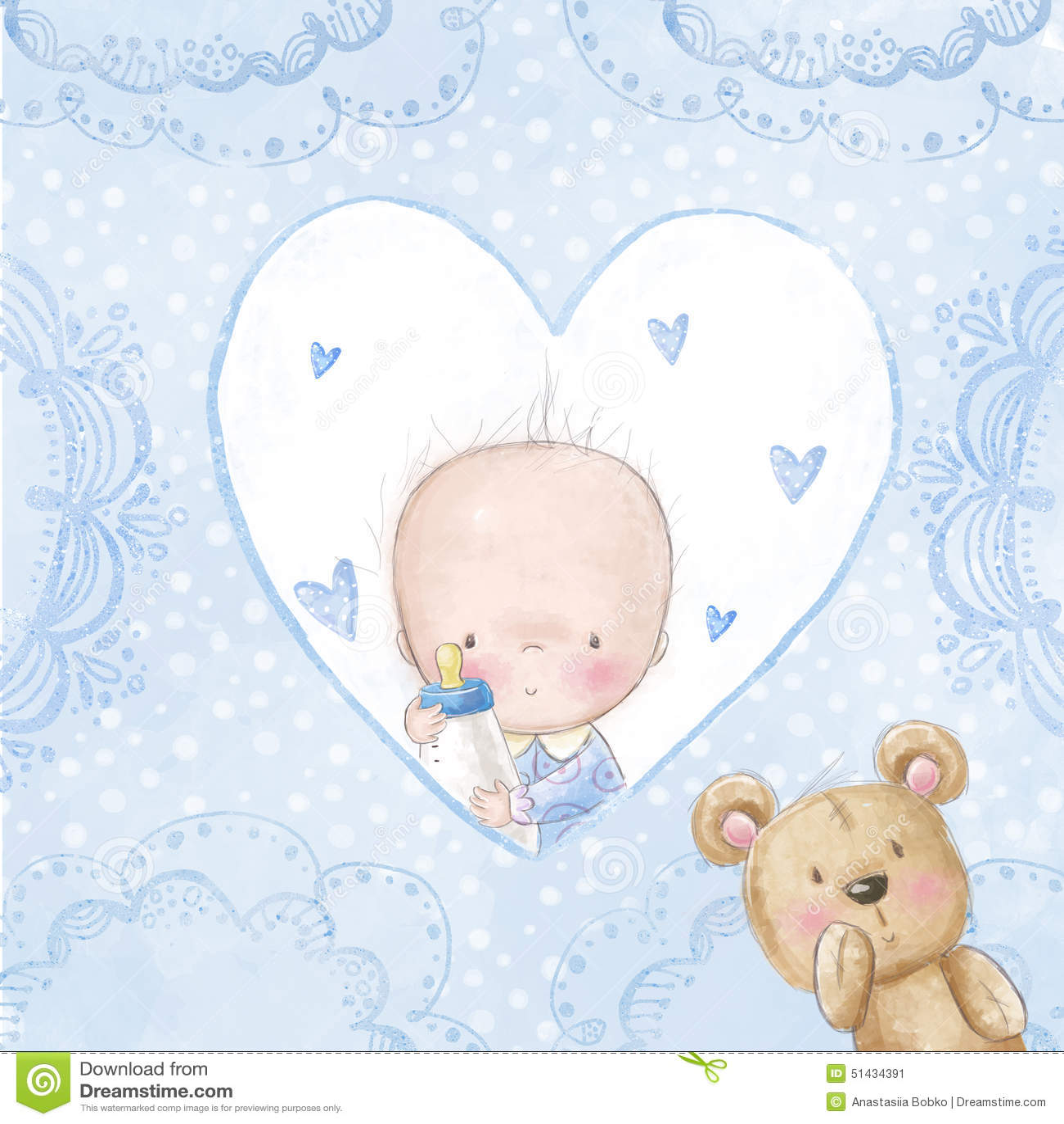 carte de voeux de f te de naissance b b gar on avec le nounours fond d 39 amour pour des enfants. Black Bedroom Furniture Sets. Home Design Ideas
