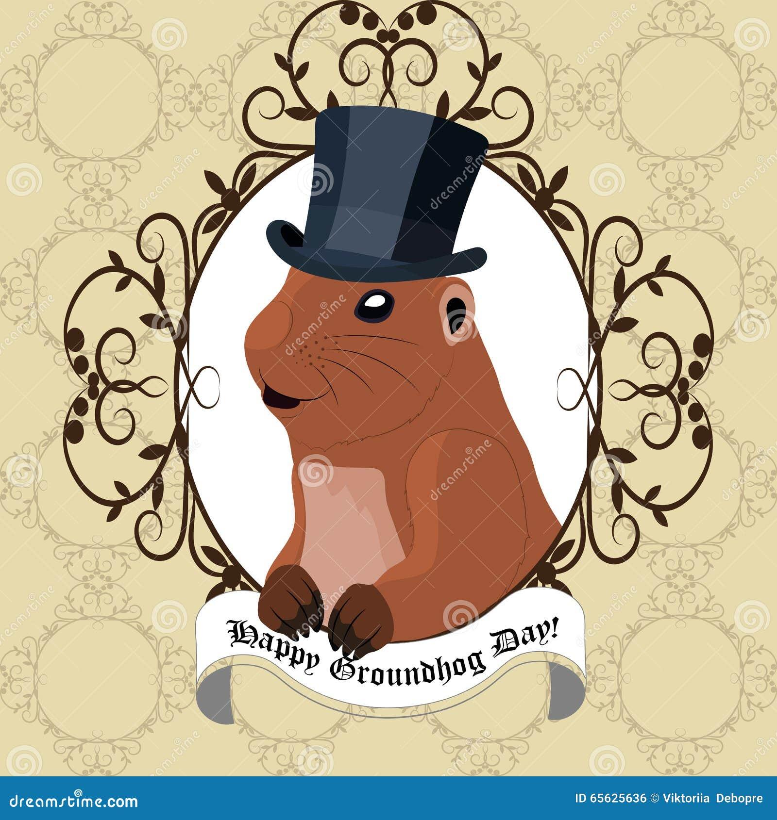 Carte de voeux de jour de Groundhog avec la marmotte mignonne dans le chapeau noir