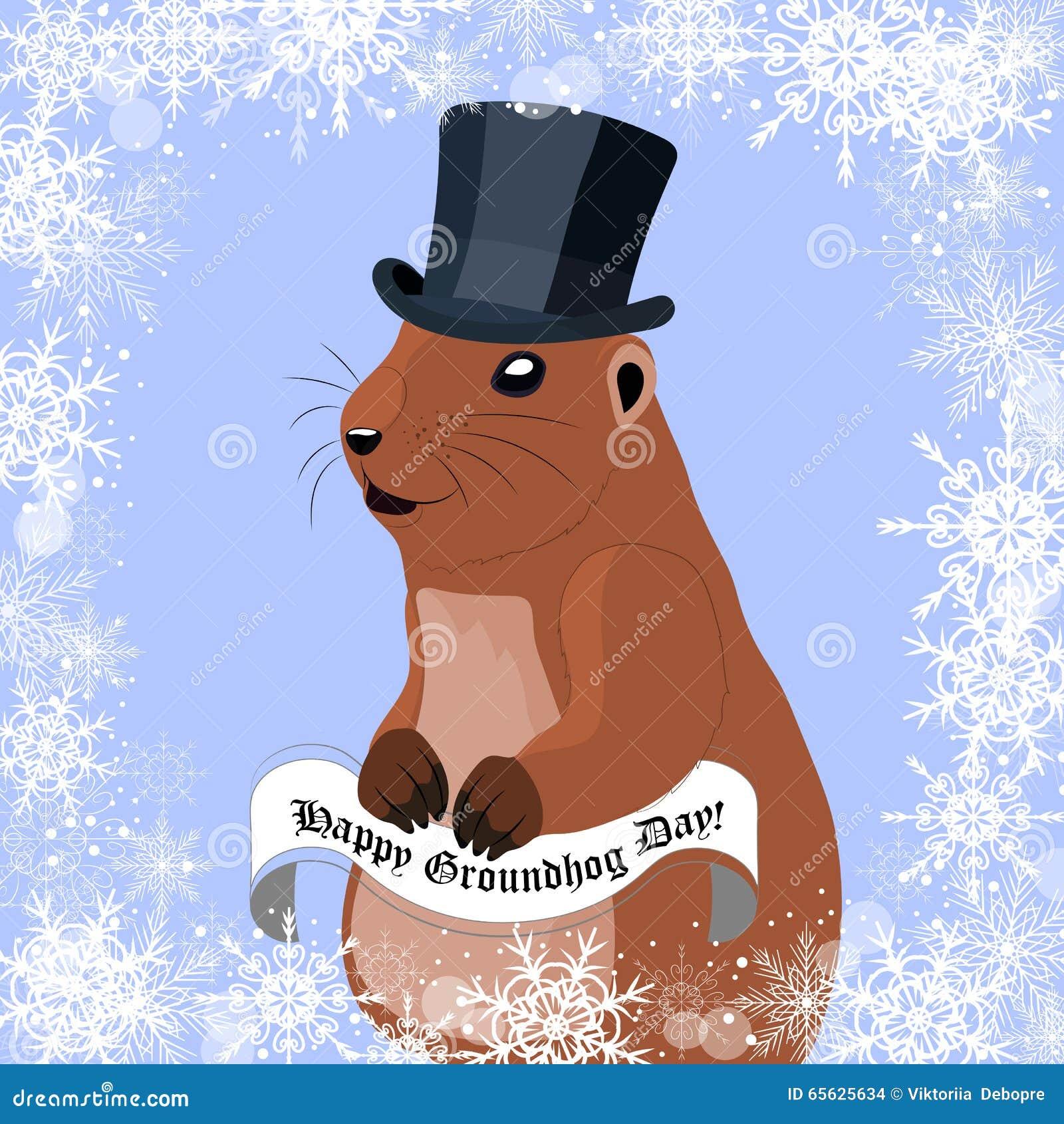 Carte de voeux de jour de Groundhog avec la marmotte mignonne dans le chapeau noir sur le fond d hiver