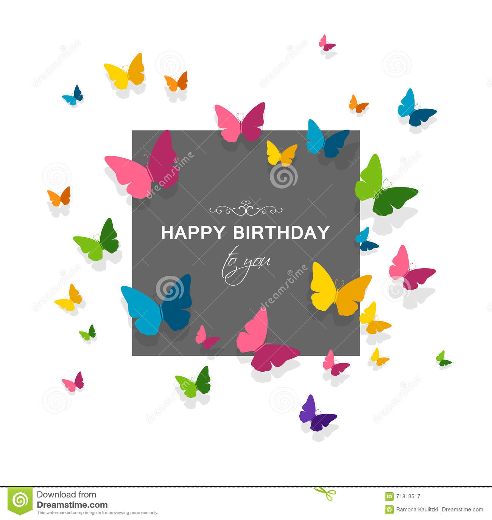 Carte De Voeux De Joyeux Anniversaire Avec Les Papillons De Papier Colores Illustration Stock Illustration Du Voeux Anniversaire 71813517