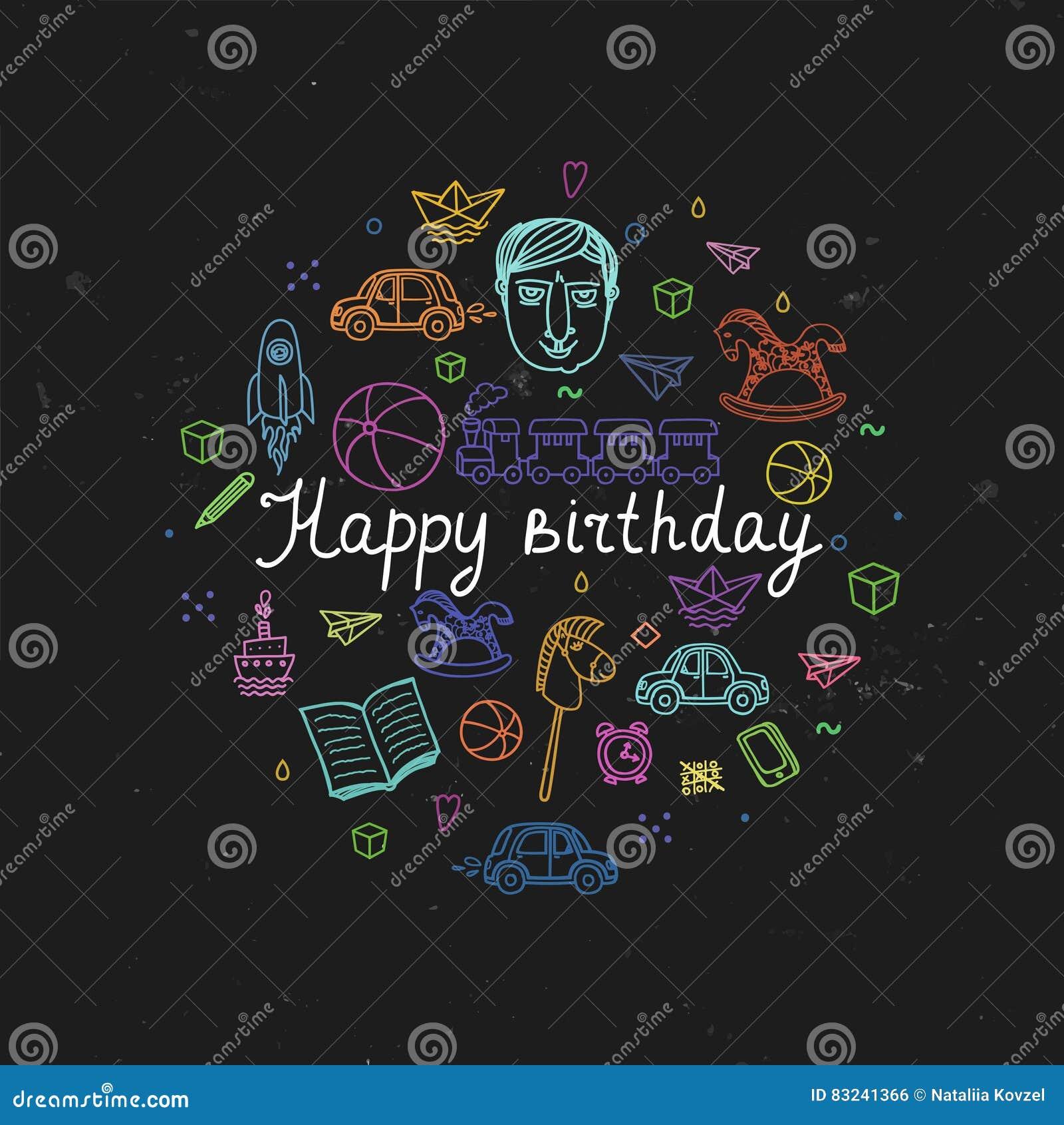 Carte de voeux de joyeux anniversaire - illustration de vecteur