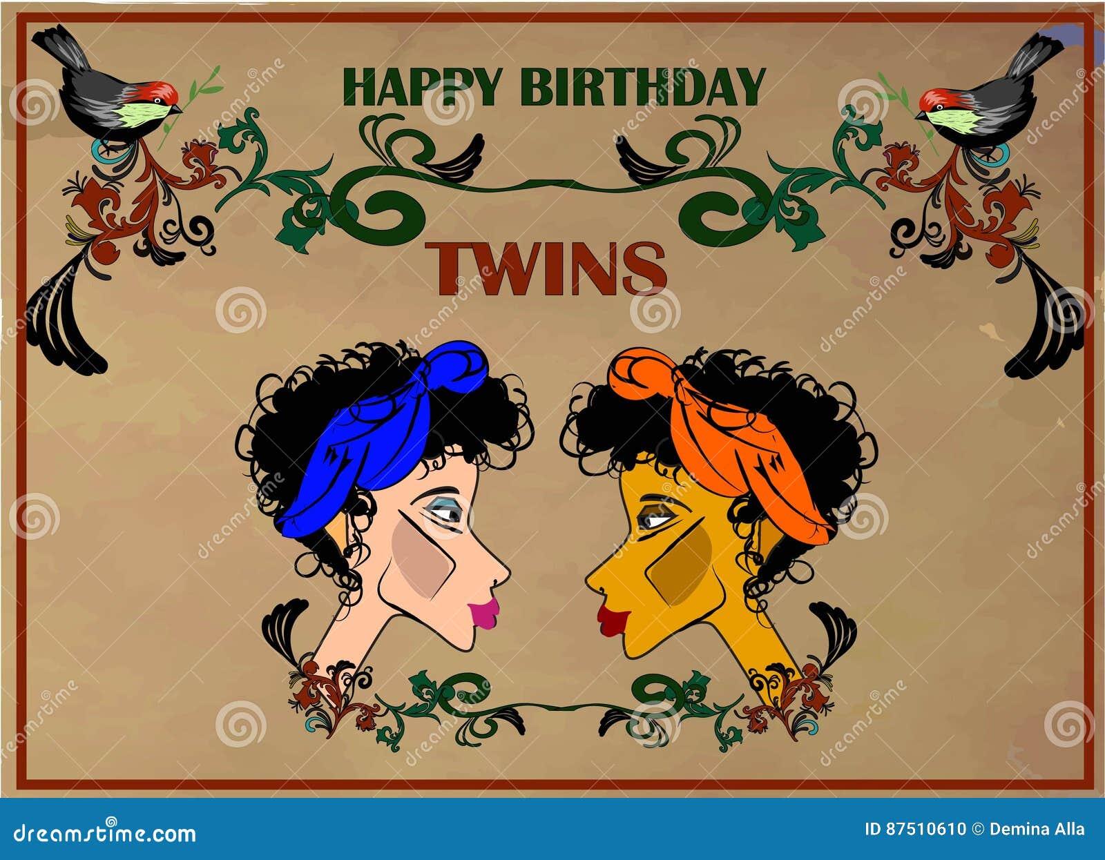 Carte De Voeux De Joyeux Anniversaire Pour Des Jumeaux Illustration
