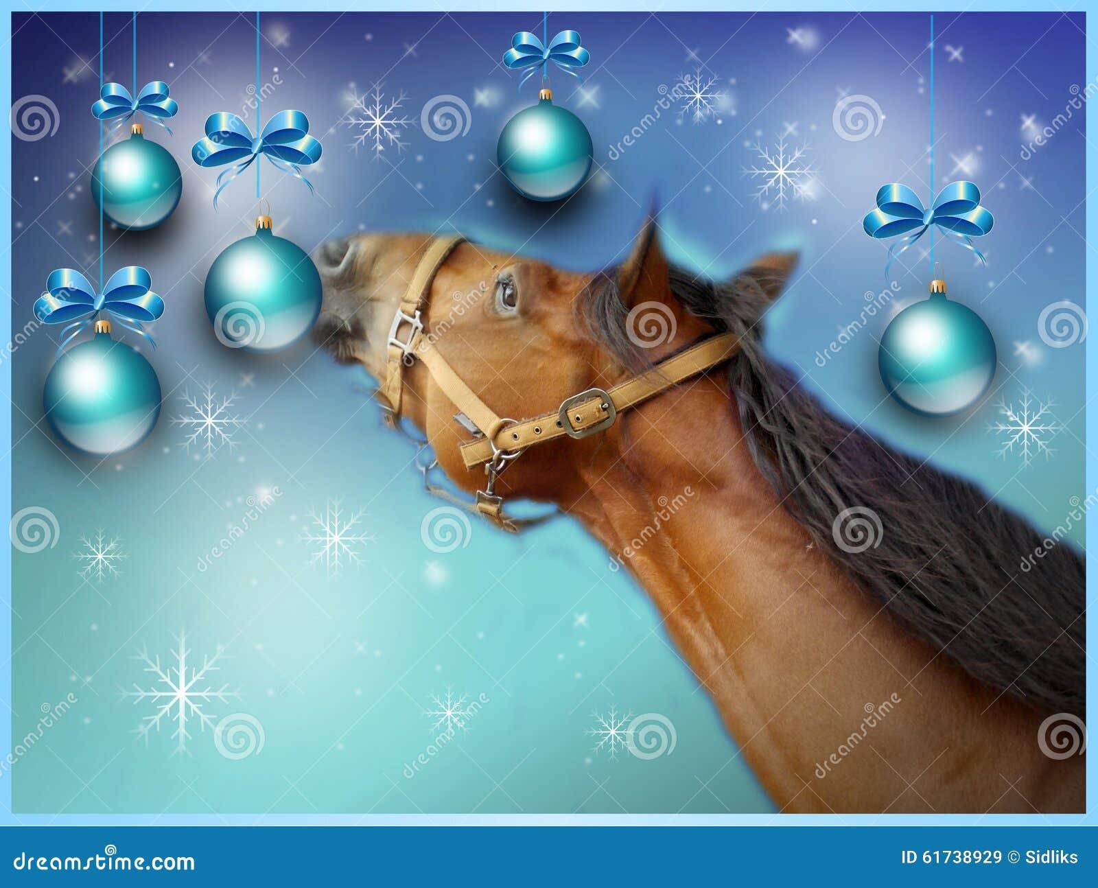 Carte De Voeux De Noël Avec Le Cheval Brun Illustration Stock