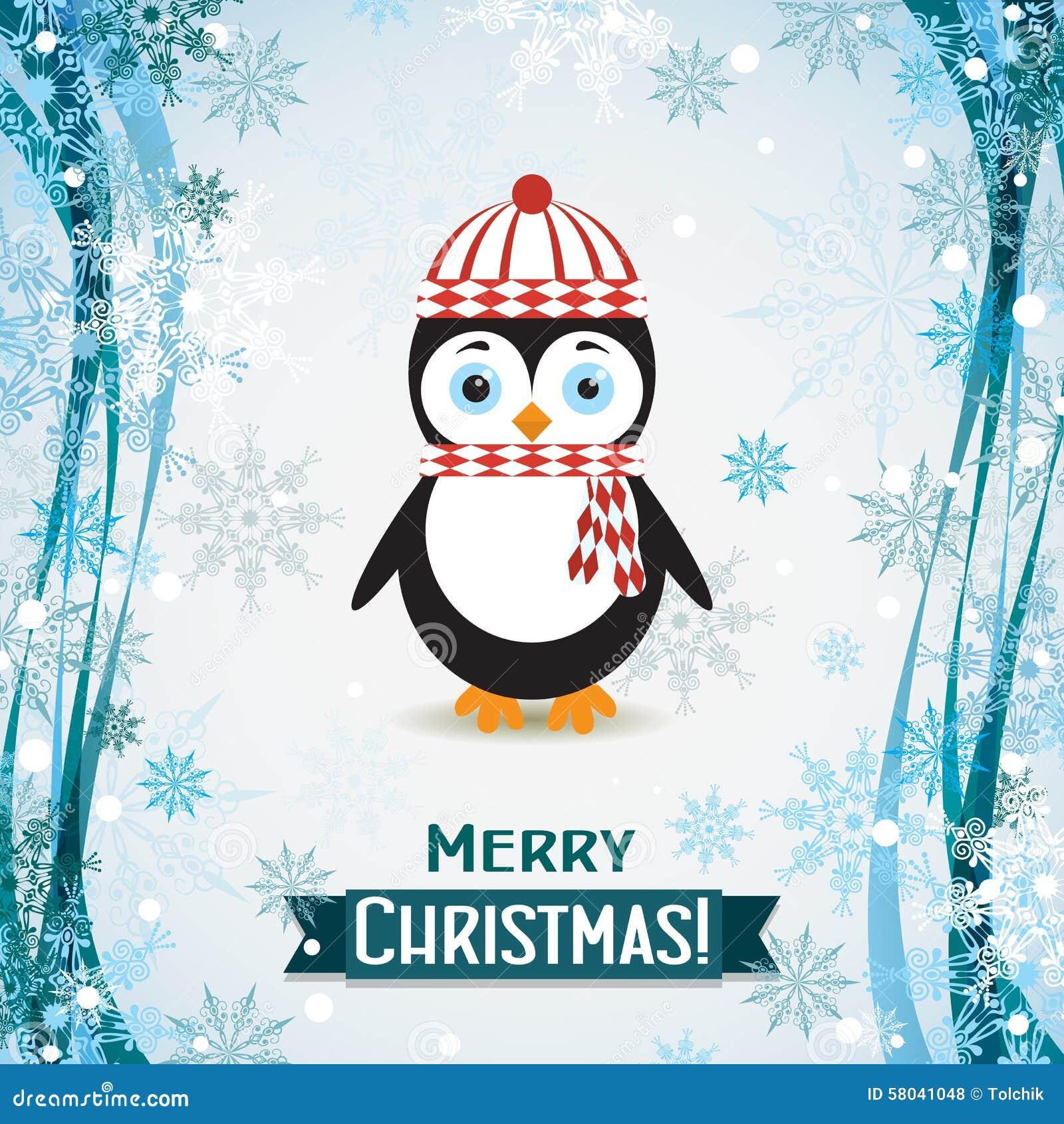 Carte De Voeux De Noël De Calibre Avec Un Pingouin, Vecteur