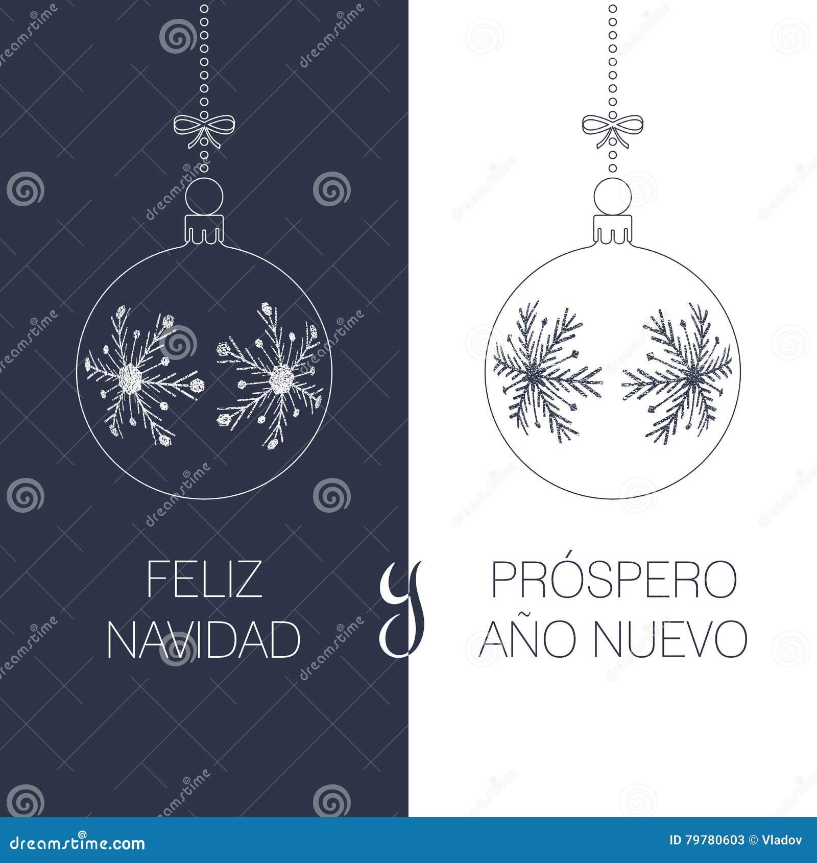Carte De Voeux De Noël Espagnol Et De Nouvelle Année Illustration