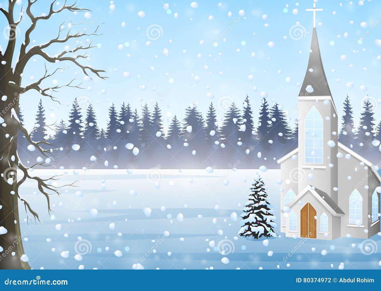 Carte De Voeux De Noël, Paysage D'hiver Avec L'église Illustration