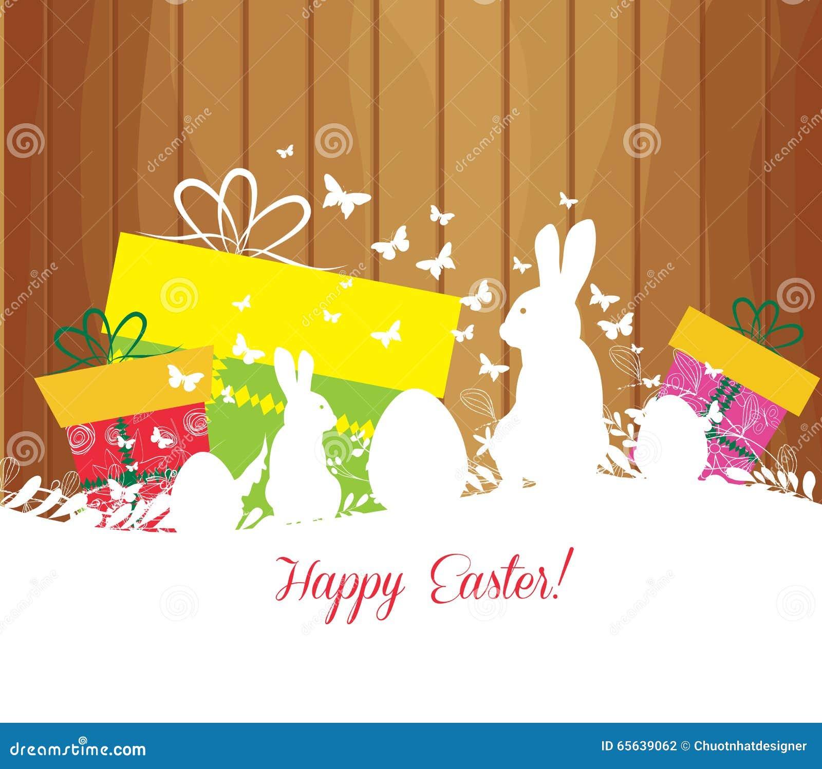 Carte de voeux de Pâques avec le lapin, le cadeau et les lumières sur le fond en bois