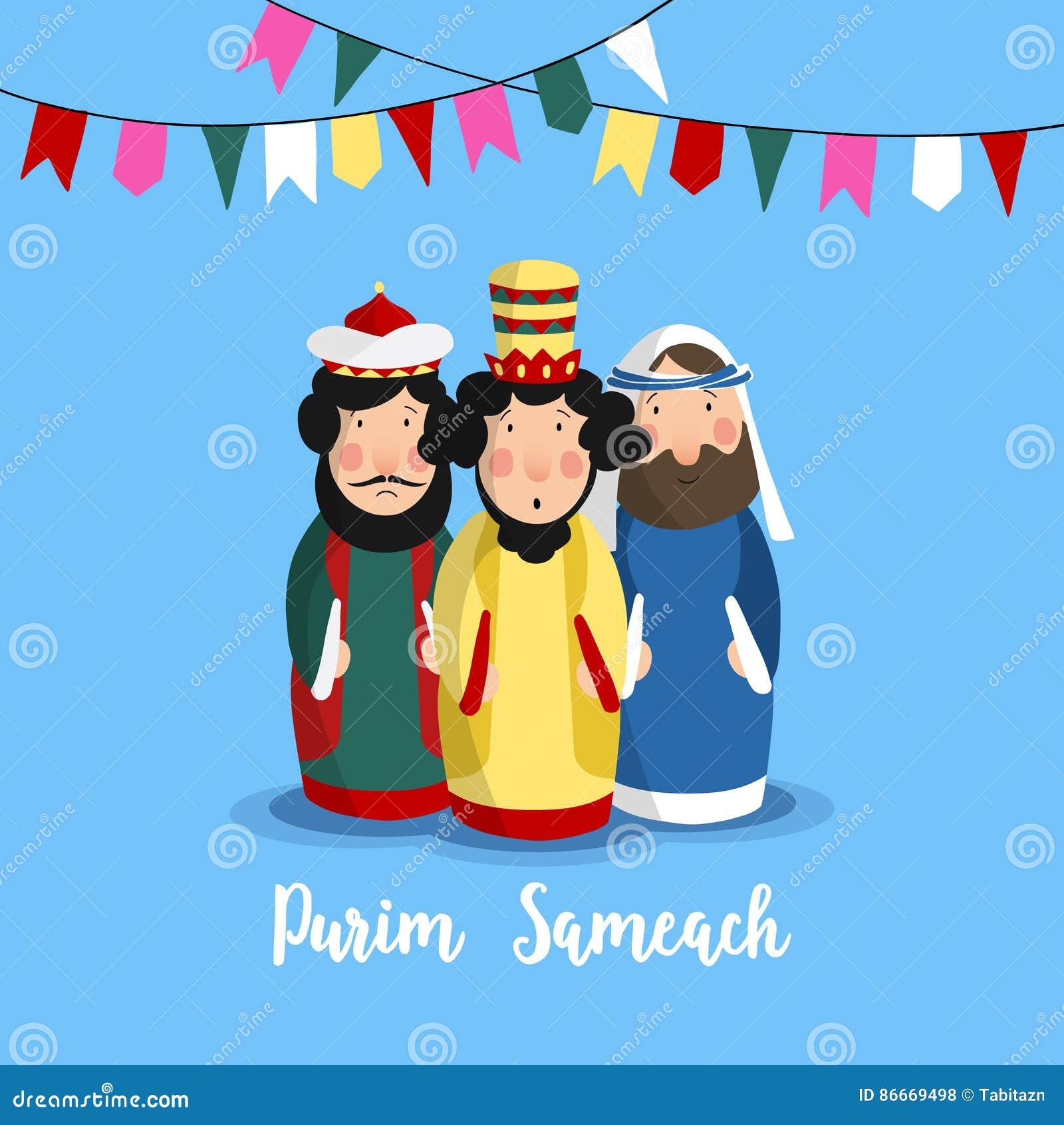 Carte de voeux de vacances de Purim Sameach pour le festival juif Le Roi tiré par la main Ahasuerus, Haman et juif Mordecai et pa