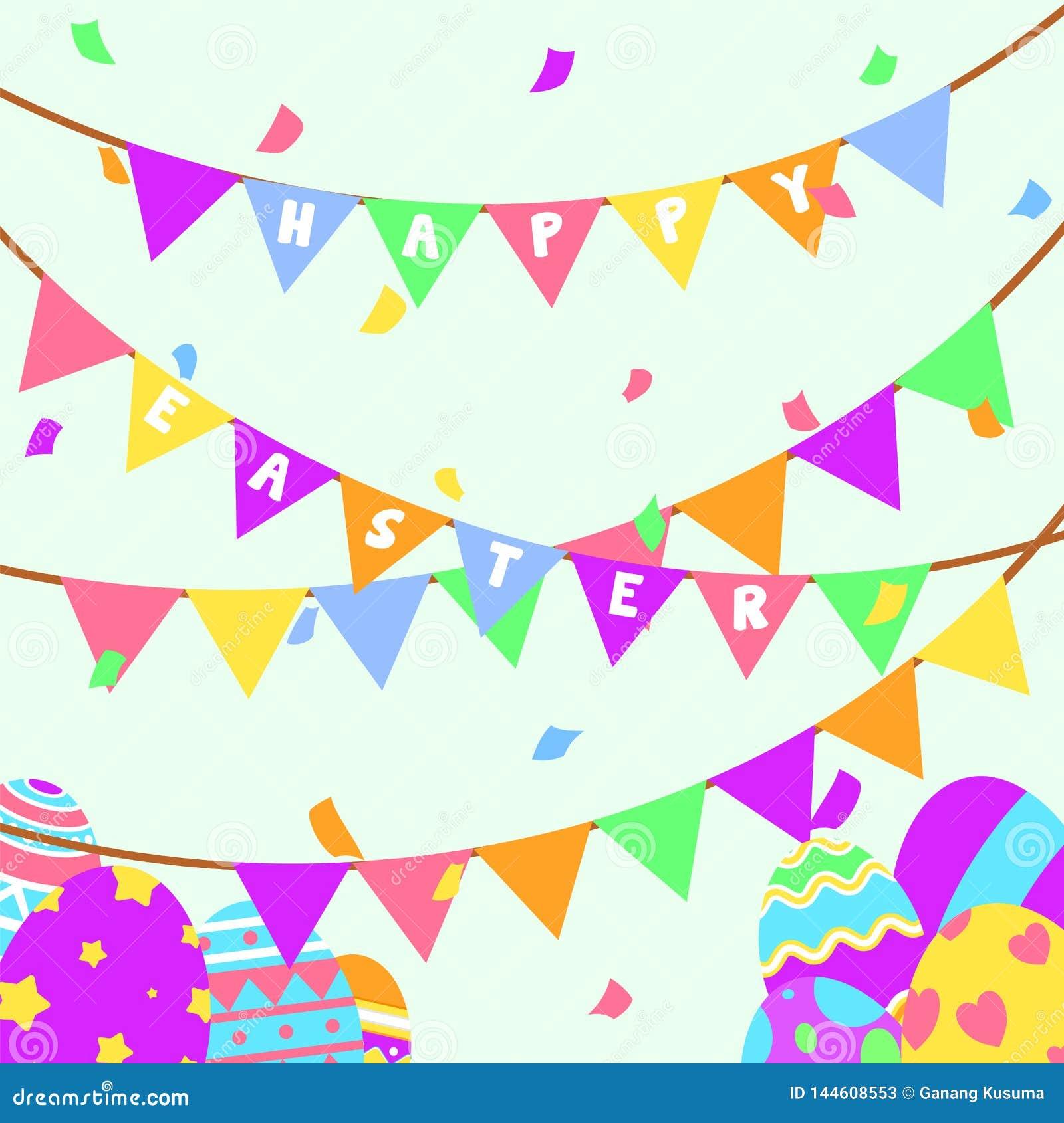 Carte de voeux et partie heureuses drôles et colorées de Pâques avec l illustration des oeufs, de la bannière, du drapeau, de la