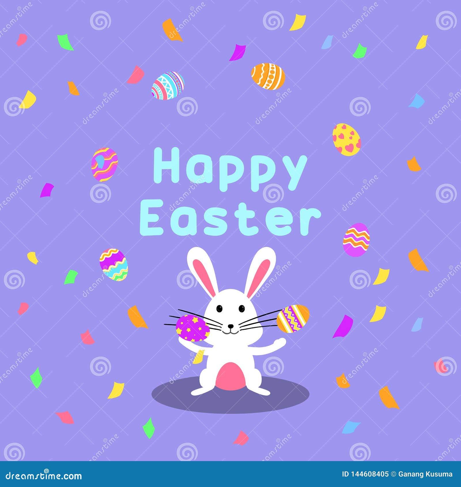 Carte de voeux et partie heureuses drôles et colorées de Pâques avec le lapin, l illustration de lapin, les oeufs, les confettis