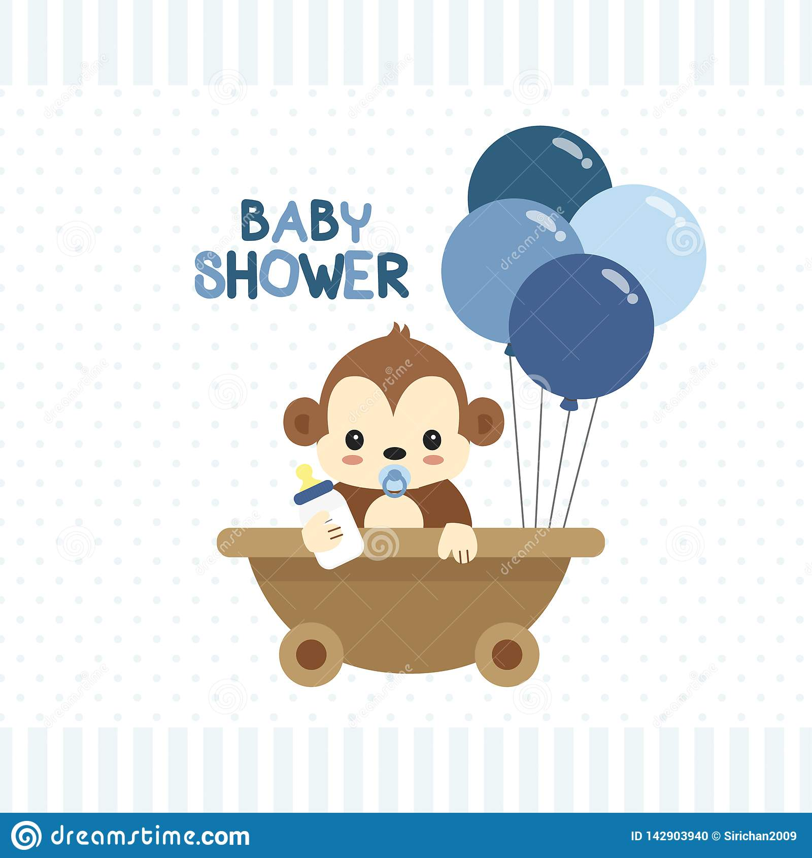Carte de voeux de fête de naissance avec peu de singe