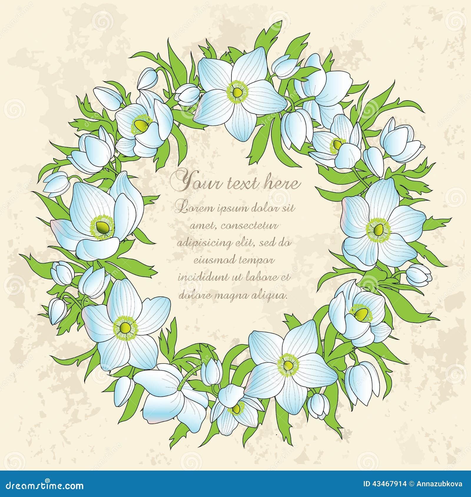 Carte de voeux florale avec des anémones