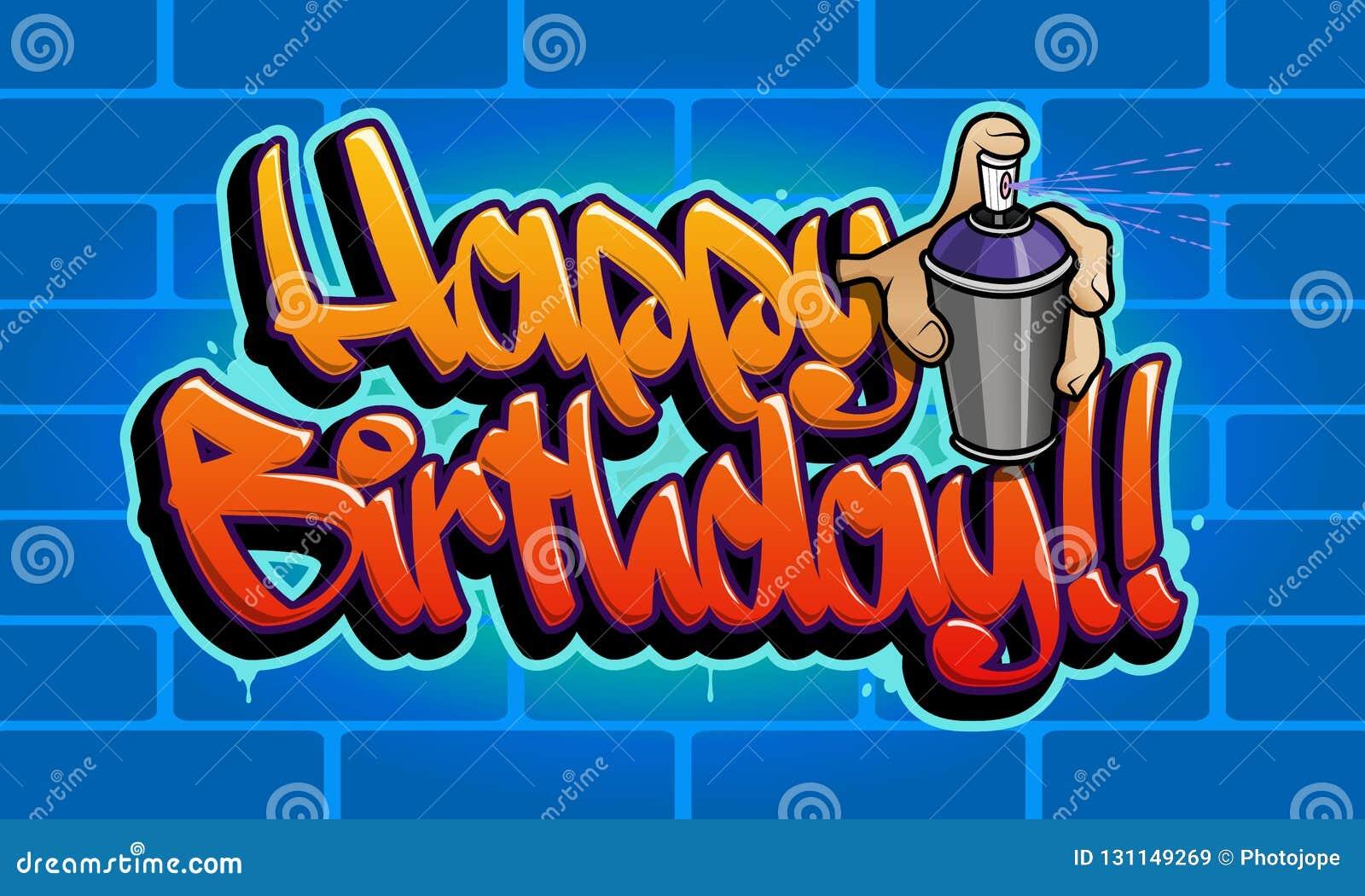Carte de voeux de graffiti de joyeux anniversaire
