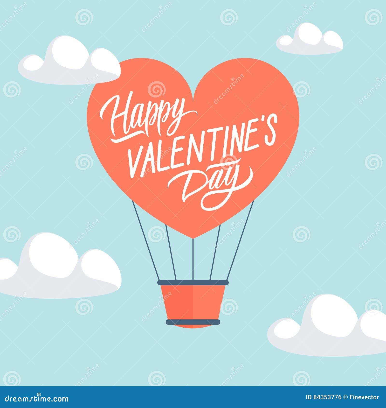 Carte de voeux heureuse de jour du ` s de Valentine avec le ballon à air chaud de forme de coeur
