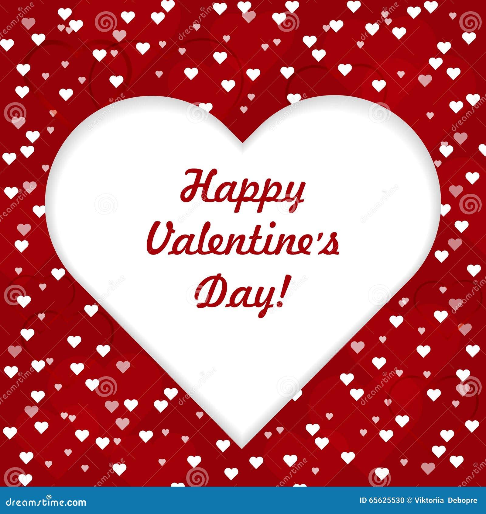 Carte de voeux heureuse de lettrage de jour de valentines avec le grand coeur blanc sur le fond rouge d amour, illustration de ve
