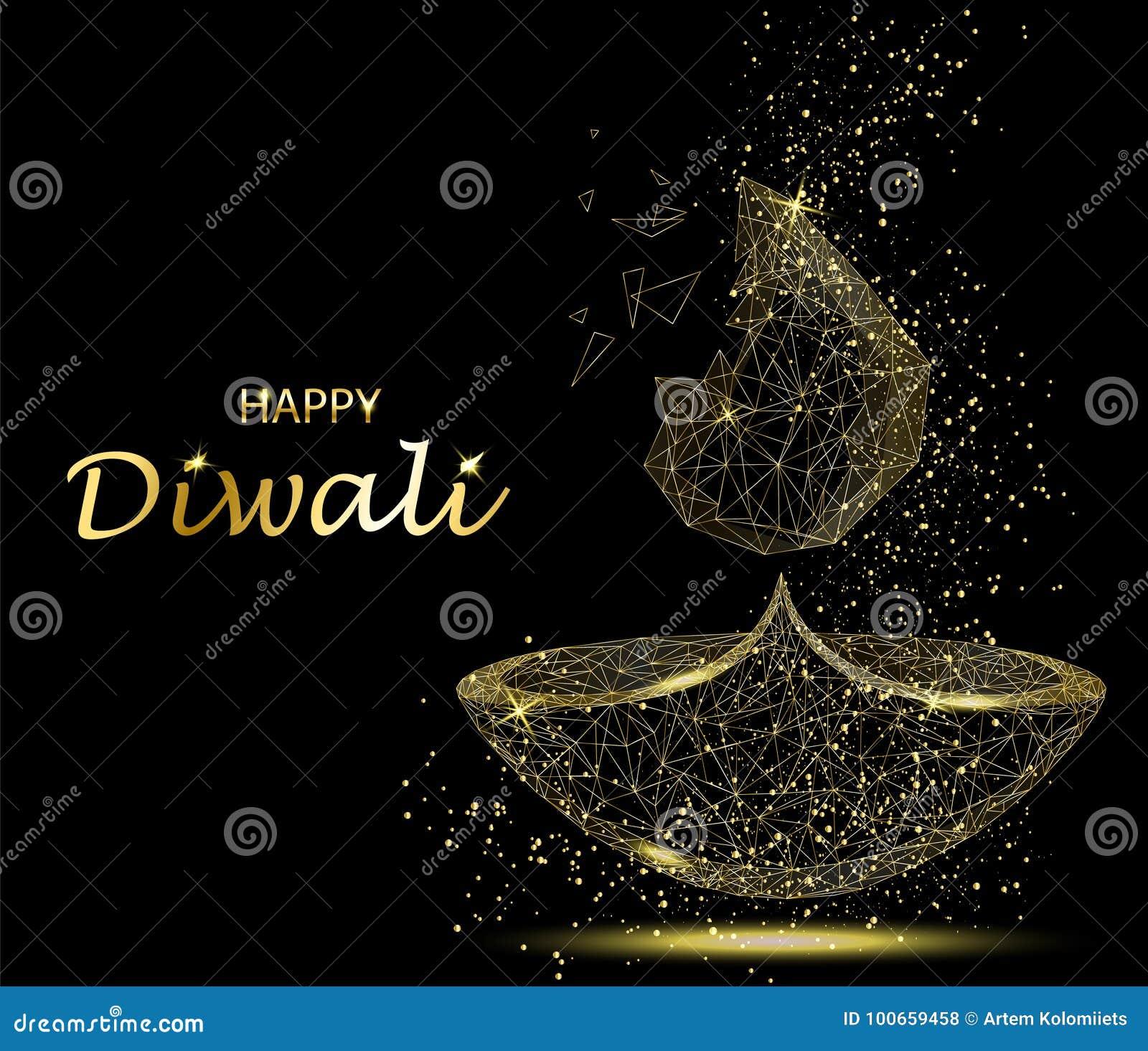 Carte De Voeux Heureuse De Diwali Lumiere De Deepavali Et Festival Du Feu Illustration De Vecteur Illustration Du Diwali Heureuse 100659458