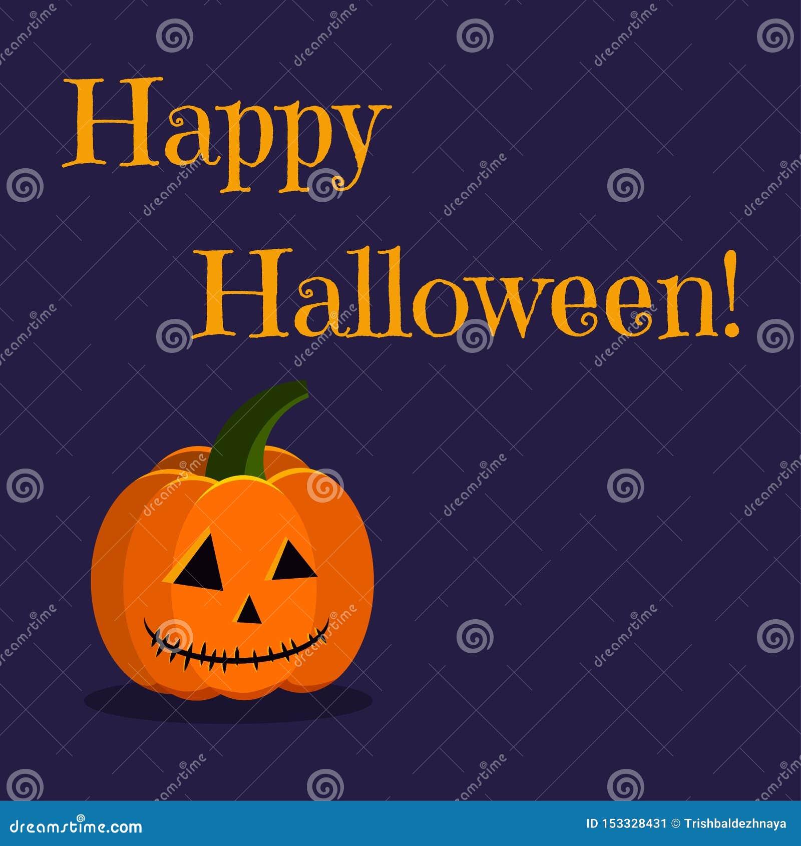 Carte de voeux heureuse de Halloween avec la lampe orange de cric de potiron de caractère mignon de vacances