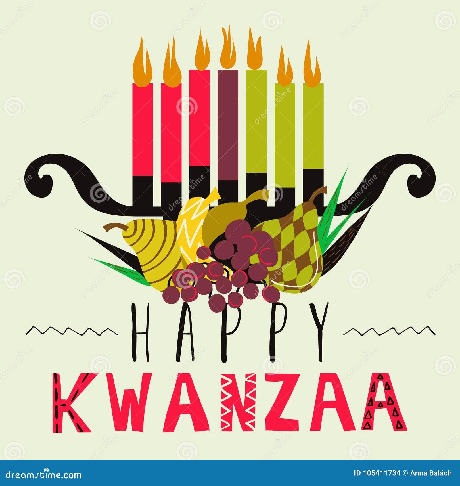 Carte de voeux heureuse de Kwanzaa, fond