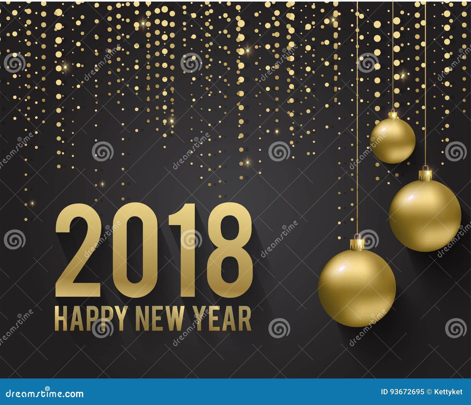 Top Carte De Voeux, Invitation Avec La Bonne Année 2018 Et Noël Boules  EA55