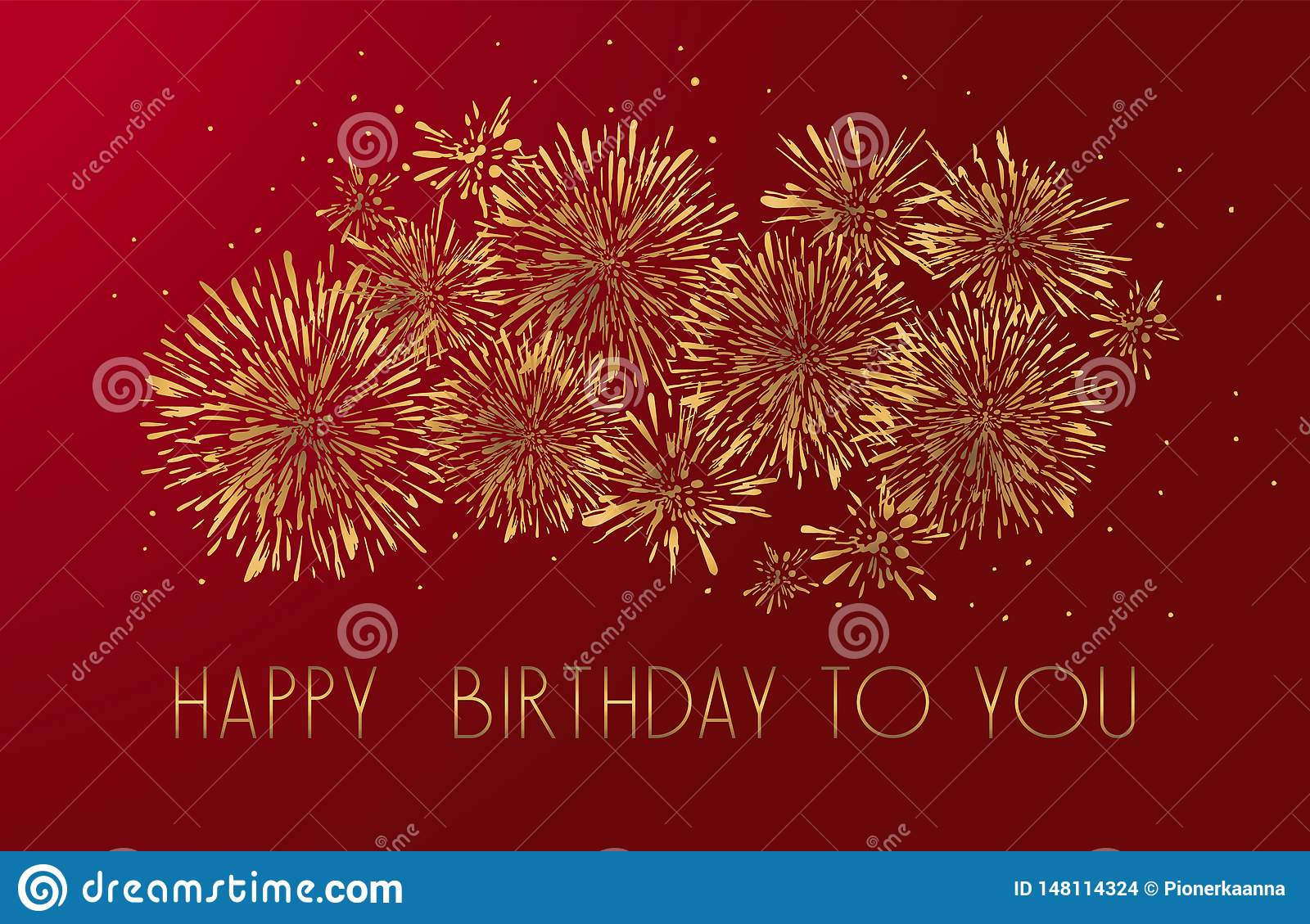 Carte de voeux de joyeux anniversaire avec la conception de lettrage Fond rouge de feux d artifice d or de scintillement