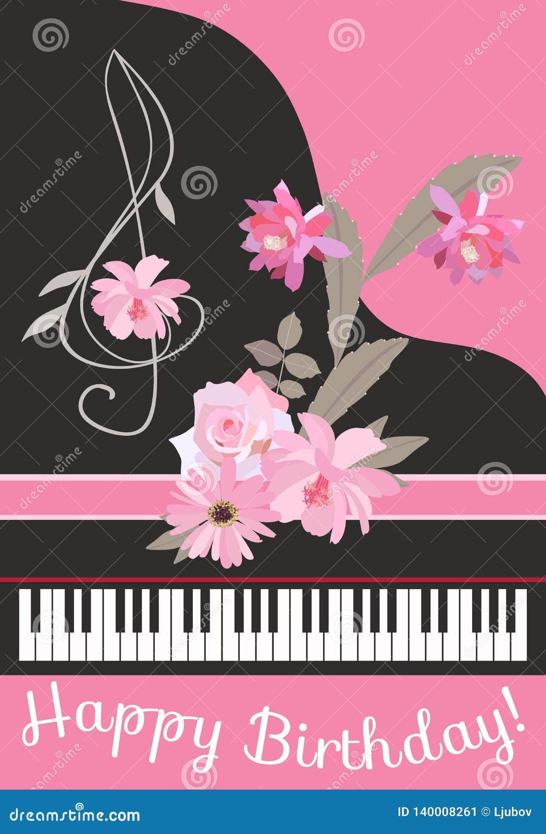 Carte de voeux de joyeux anniversaire avec le piano à queue de noir de concert, la clef triple florale, le ruban rose et le bouqu