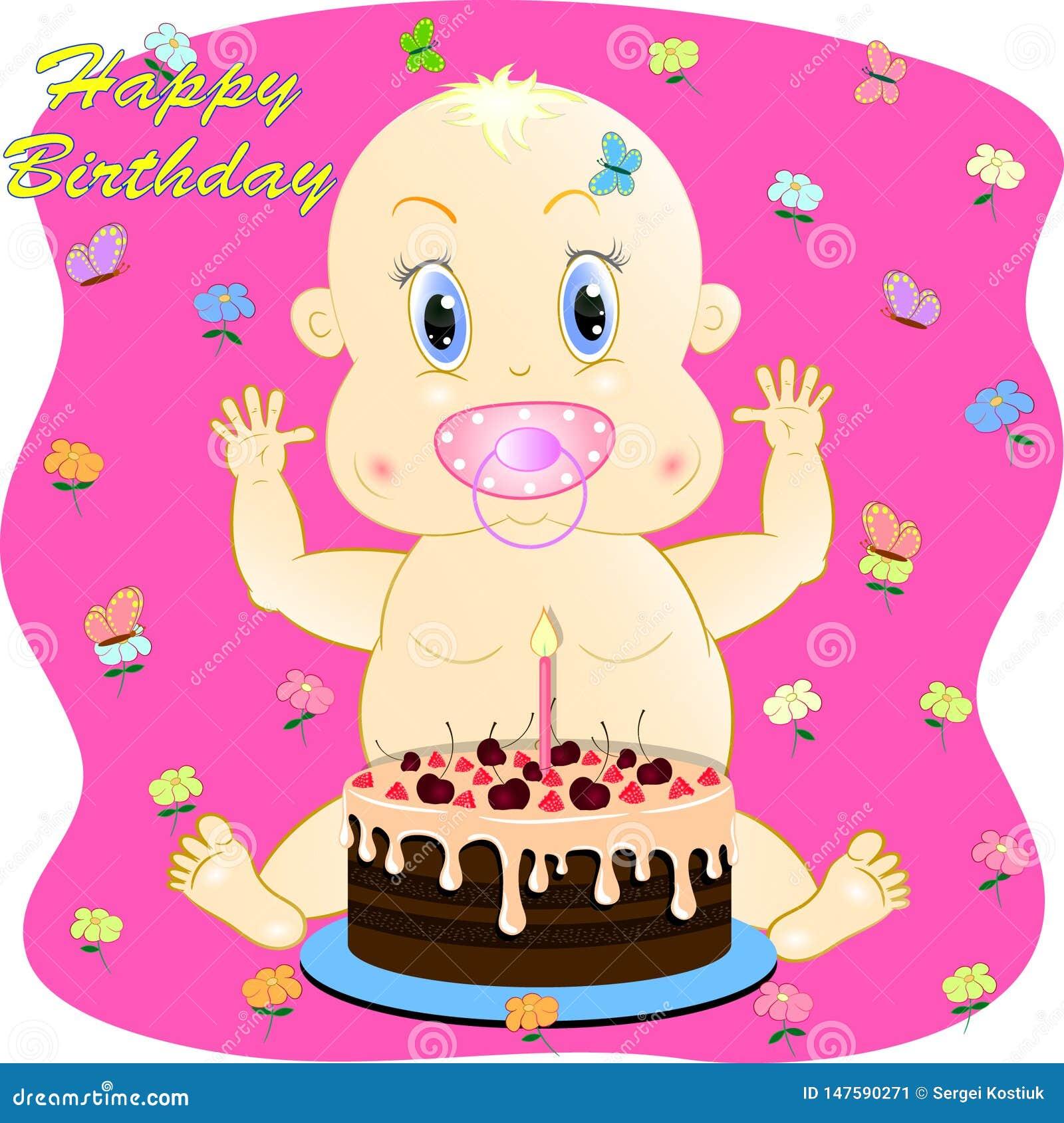 Carte De Voeux De Joyeux Anniversaire Avec Peu De Bebe Illustration De Vecteur Illustration Du Avec Joyeux 147590271