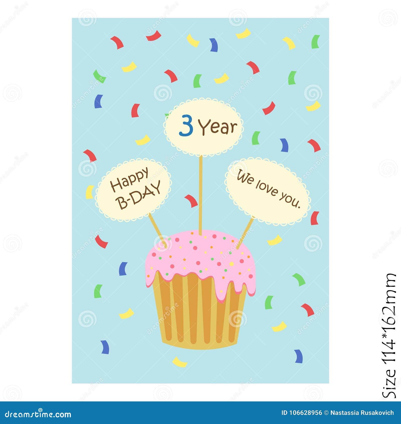 Carte de voeux de joyeux anniversaire pour des enfants avec des petits gâteaux et des plats sur un fond bleu