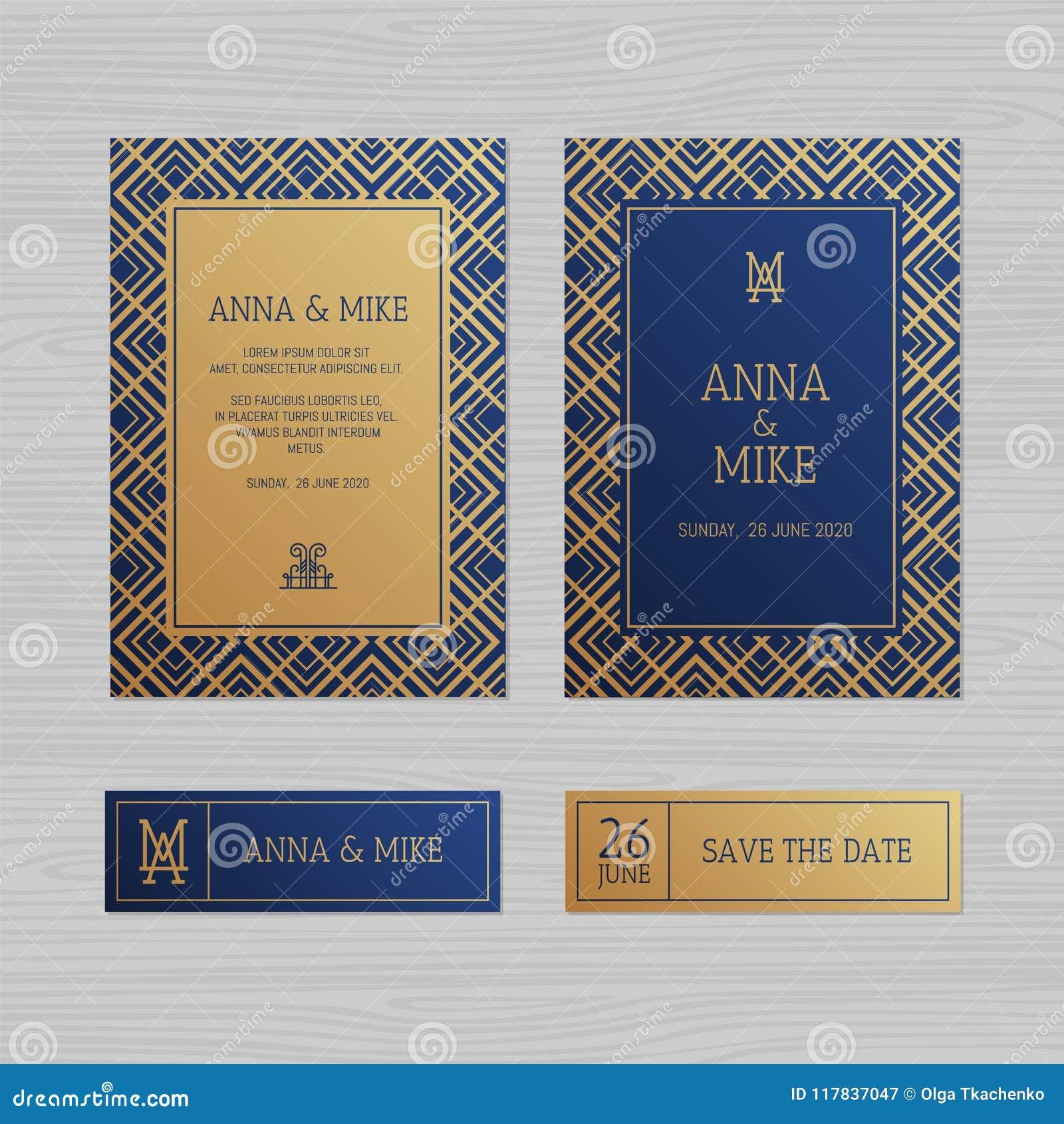 Carte de voeux de luxe d invitation ou de mariage avec l orname géométrique