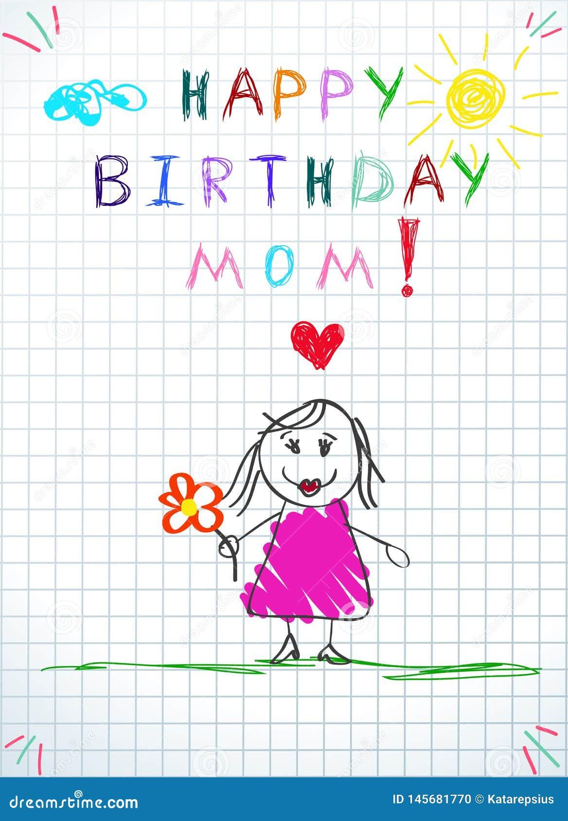 Carte De Voeux De Maman De Joyeux Anniversaire Dessin De B B Illustration De Vecteur Illustration Du Voeux Carte 145681770