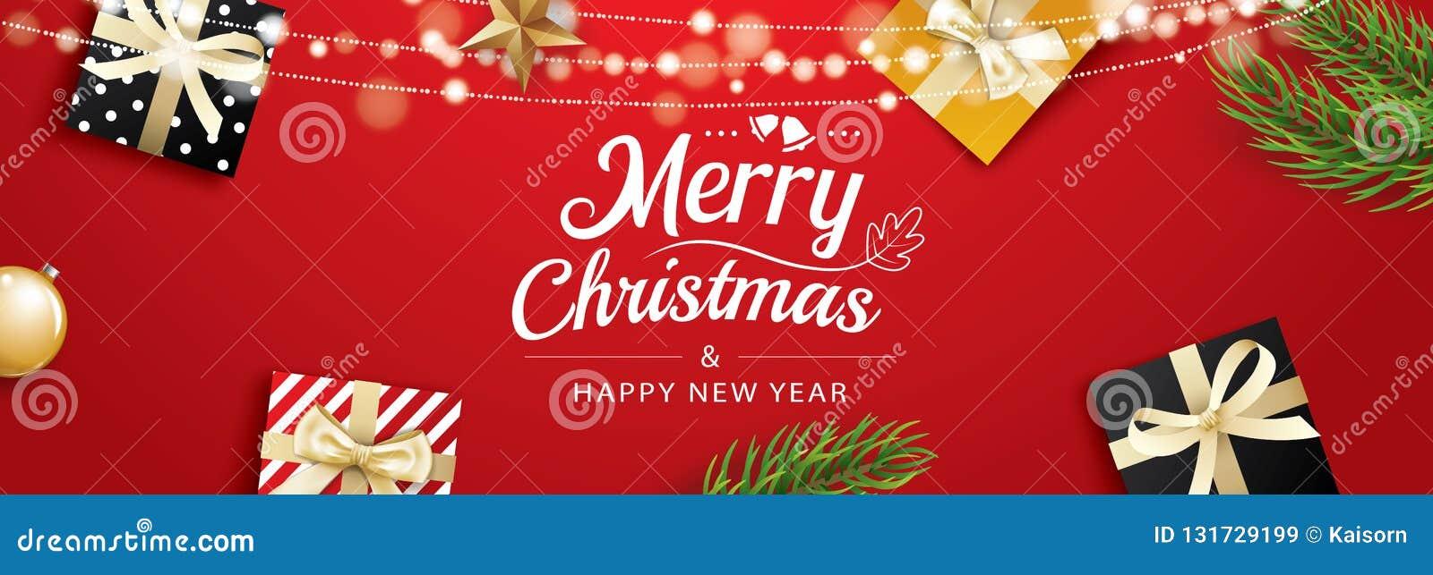 Carte de voeux de Noël avec des boîte-cadeau sur le fond rouge Utilisation pour des affiches, couverture, bannière
