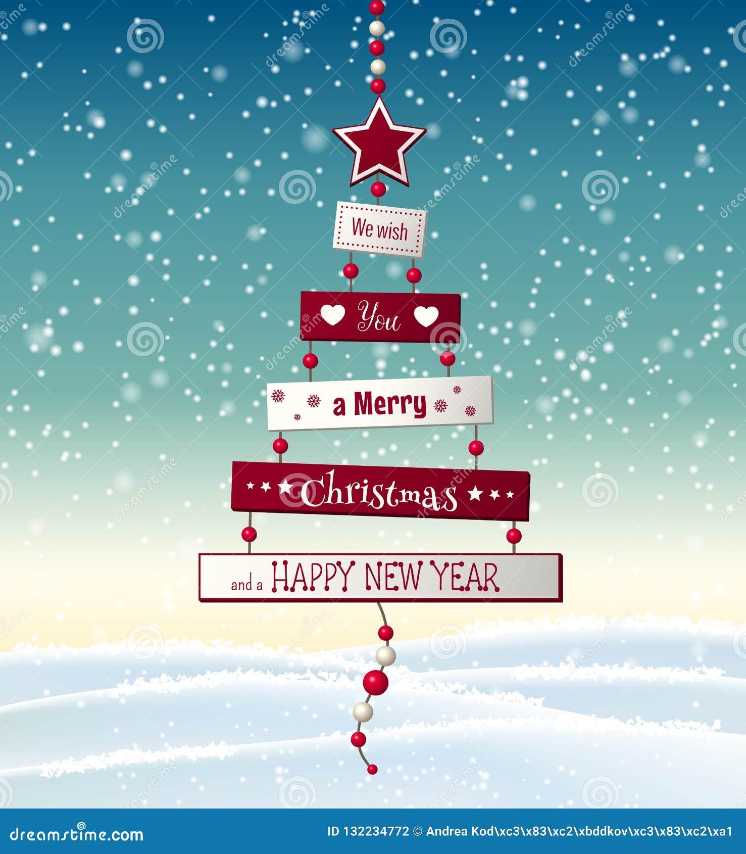 Carte De Voeux De Noël Avec L'arbre Abstrait Avec Le Texte