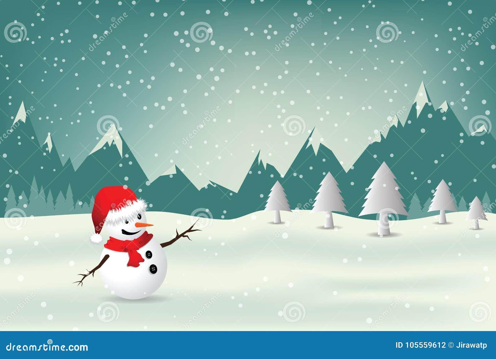 Carte De Voeux De Noël Avec Le Bonhomme De Neige Illustration de