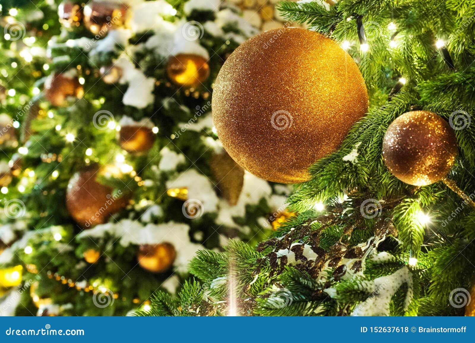 Carte de voeux de Noël ou de nouvelle année, boules en verre de décorations d or de Noël sur les branches vertes de pin, neige bl