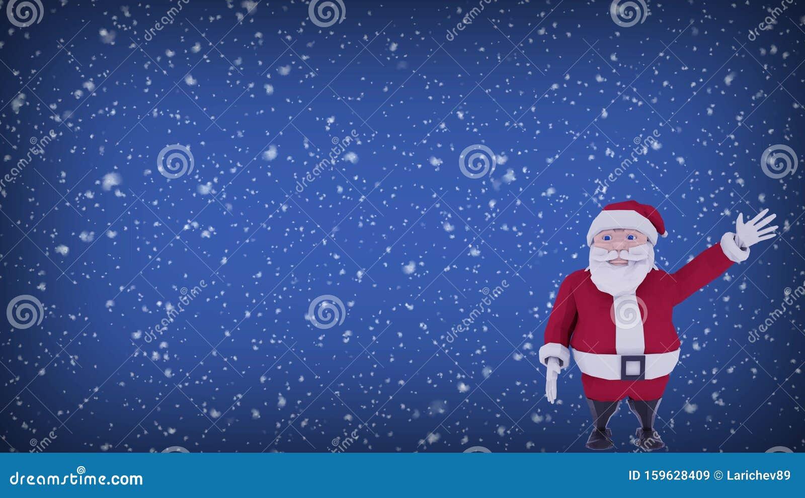 Carte De Voeux Numérique De Noël Le Père Noël Agitant Sa Main Et