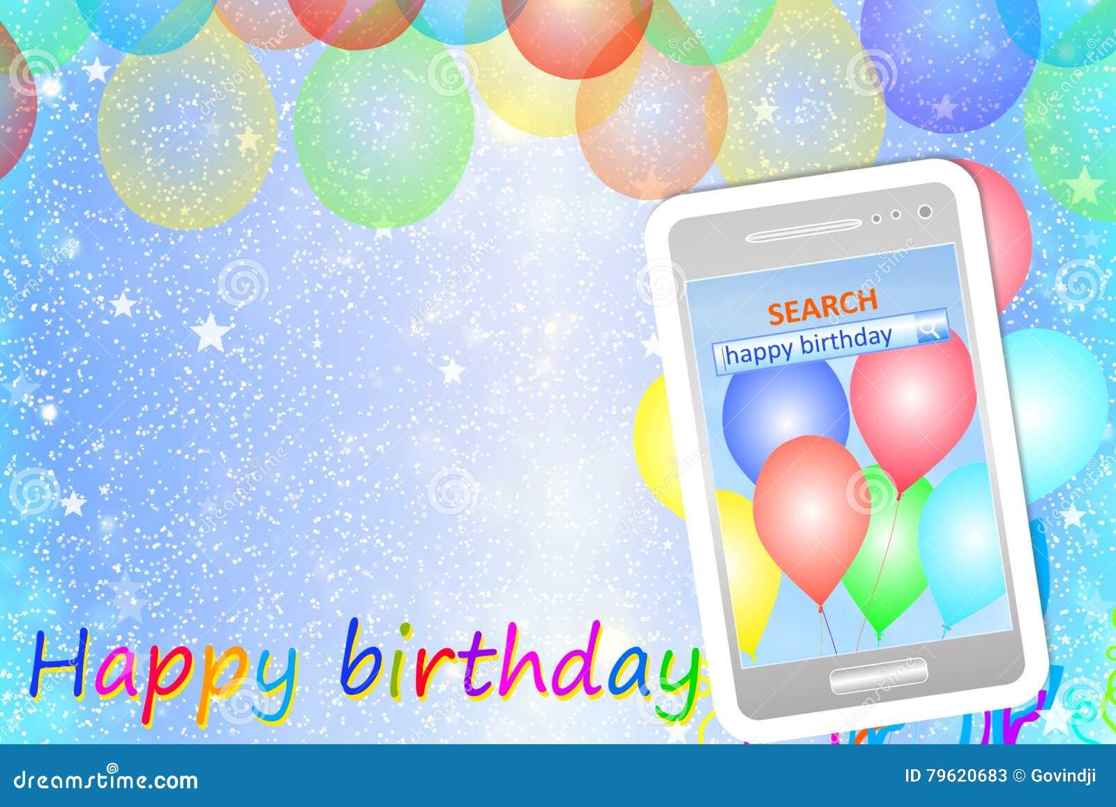 Carte De Voeux Ou Fond D Anniversaire Avec Le Telephone Portable Illustration Stock Illustration Du Voeux Fond 79620683