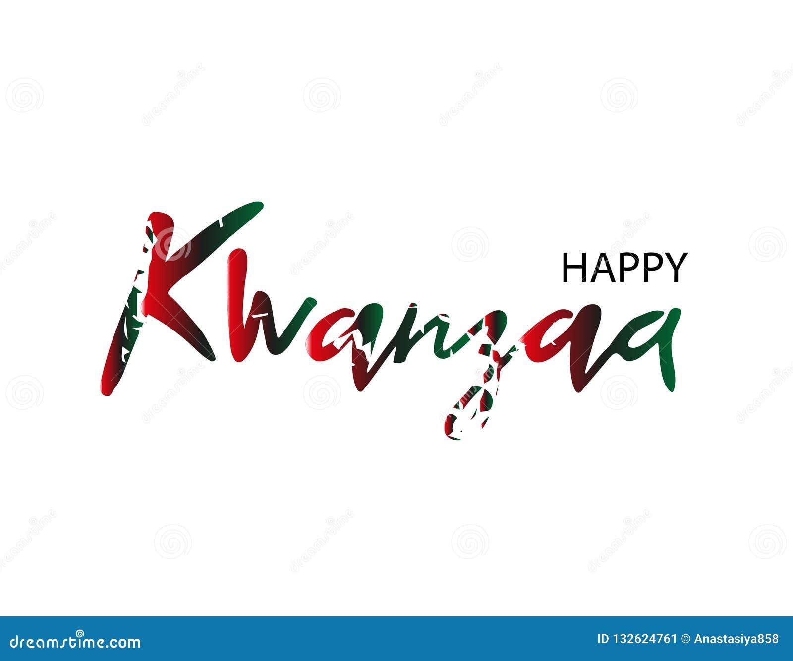 Carte de voeux ou fond heureuse de kvanzaa dans le style grunge Texte minable Illustration de vecteur
