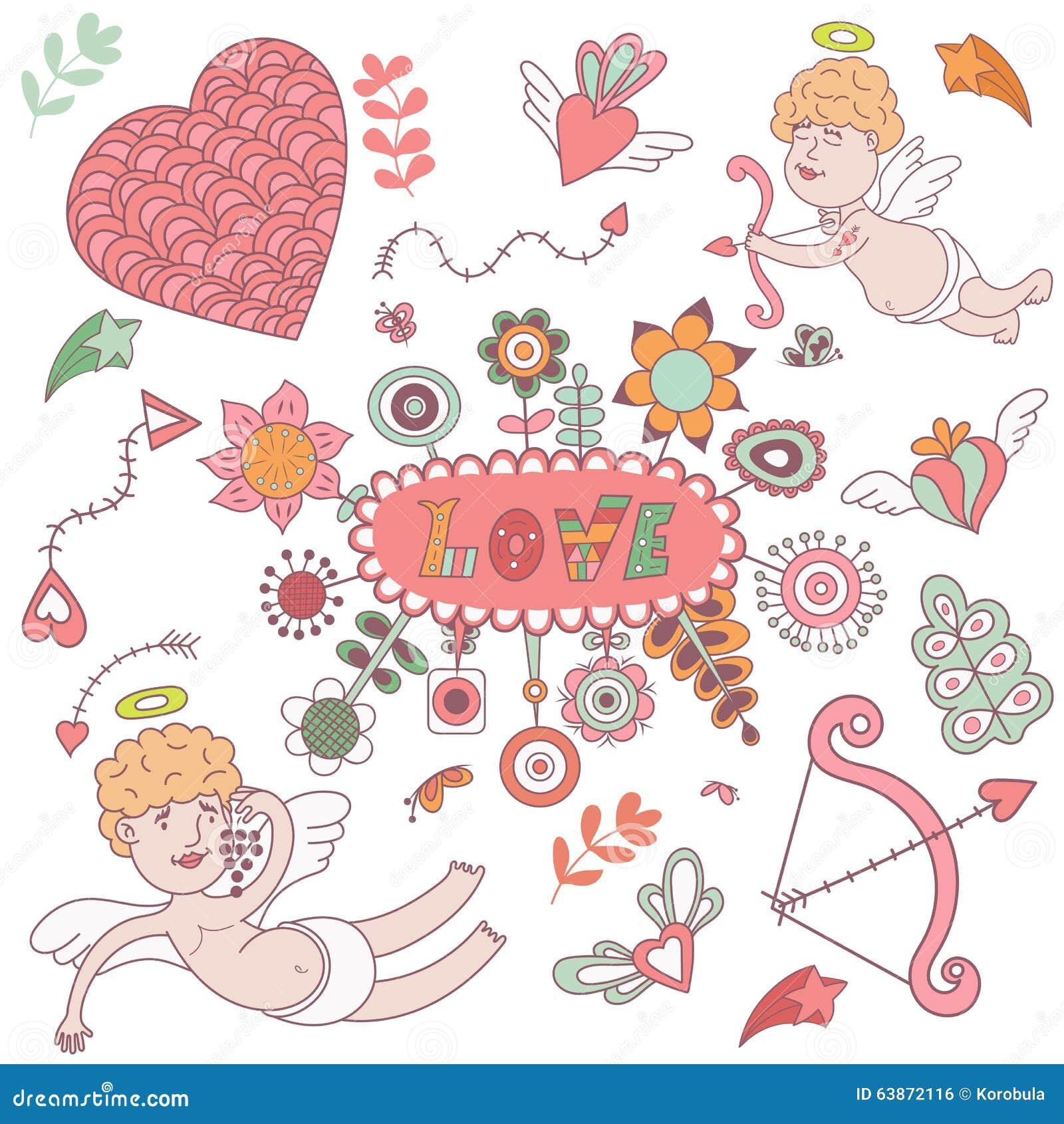 Carte de voeux pour le jour de valentines avec des anges mignons