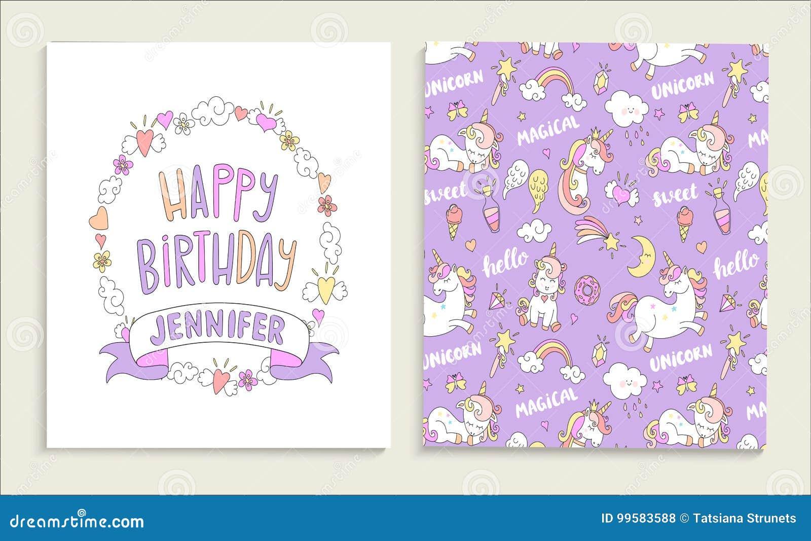 Carte De Voeux Pour Le Joyeux Anniversaire Avec Des Licornes