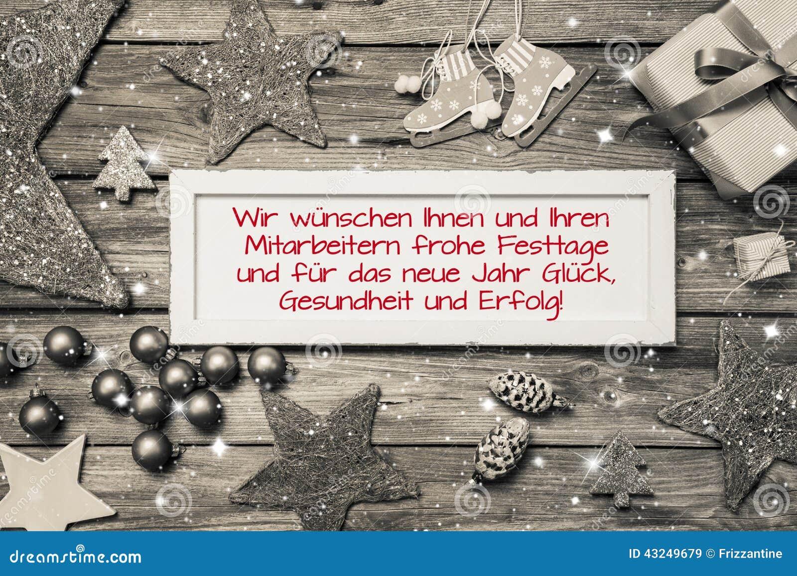 Carte De Voeux Pour Noël Avec Le Texte Allemand Pour Le Joyeux
