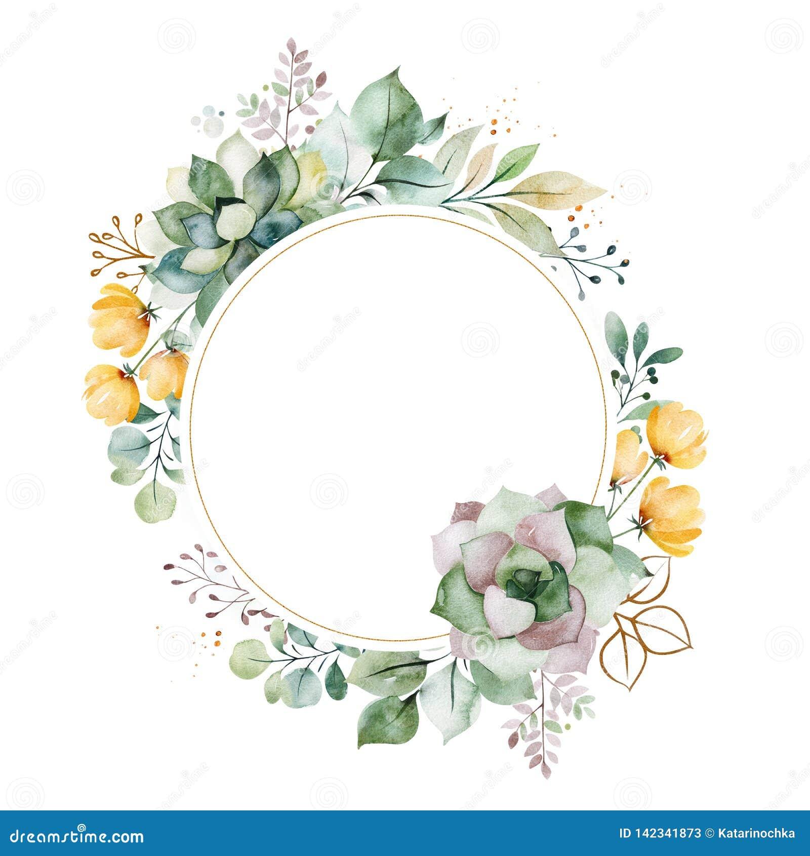 Carte de voeux Pr?-faite avec le feuillage, palmettes, branches, fleurs, succulents
