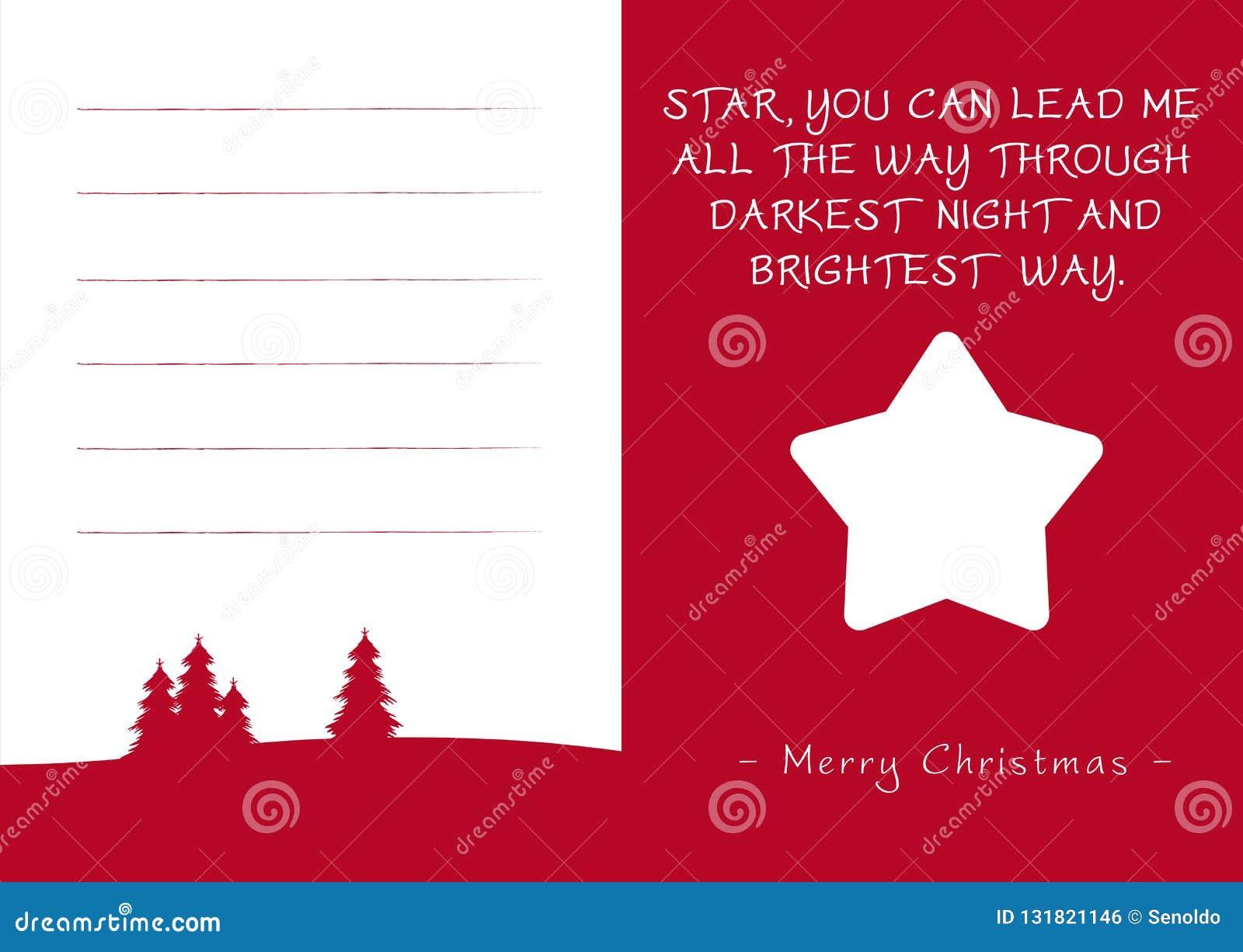 Carte De Voeux Rouge De Noël Starlette Et Poème Simples