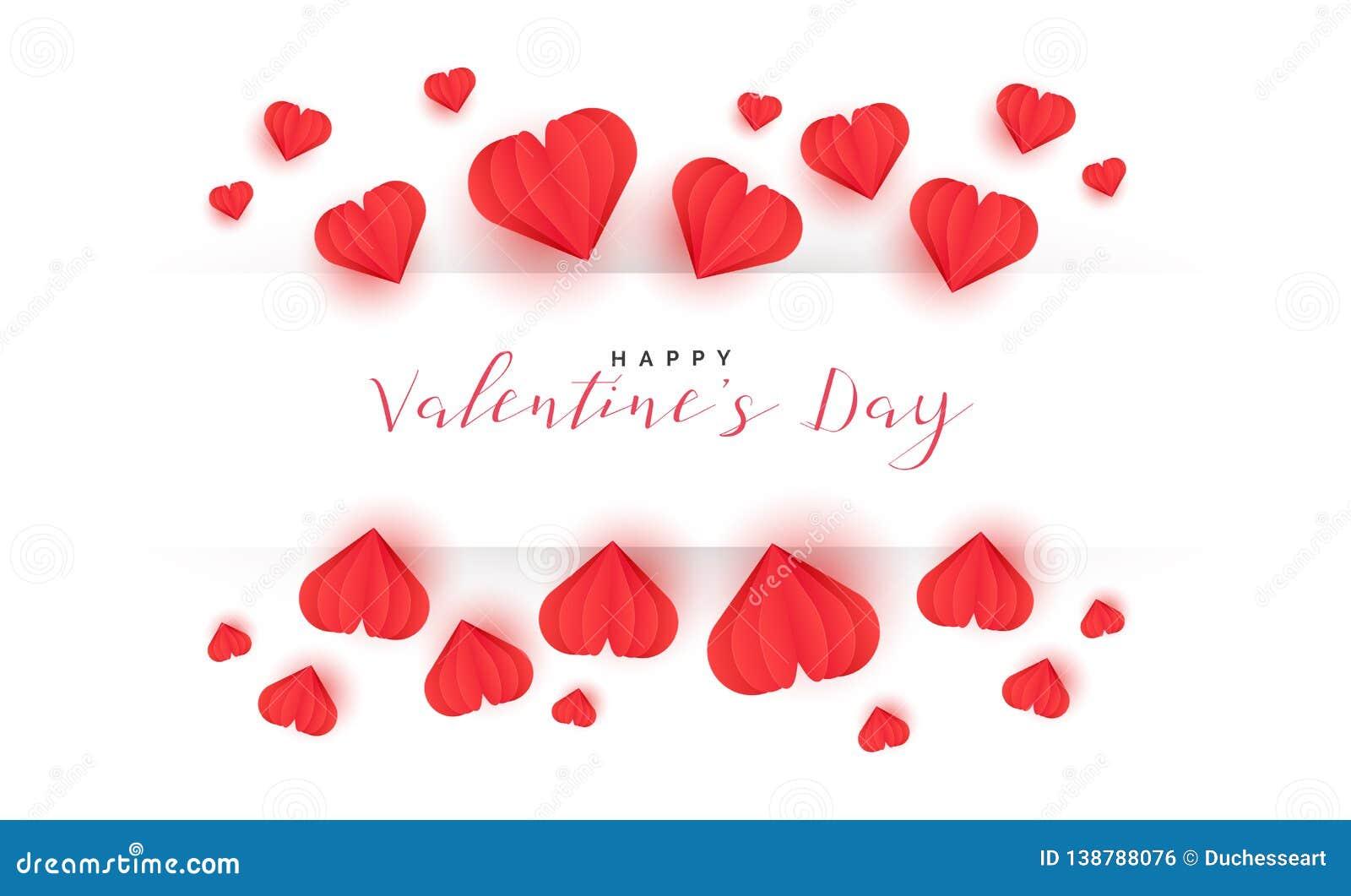 Carte De Voeux De Saint Valentin Avec Le Style De Coupe De Papier
