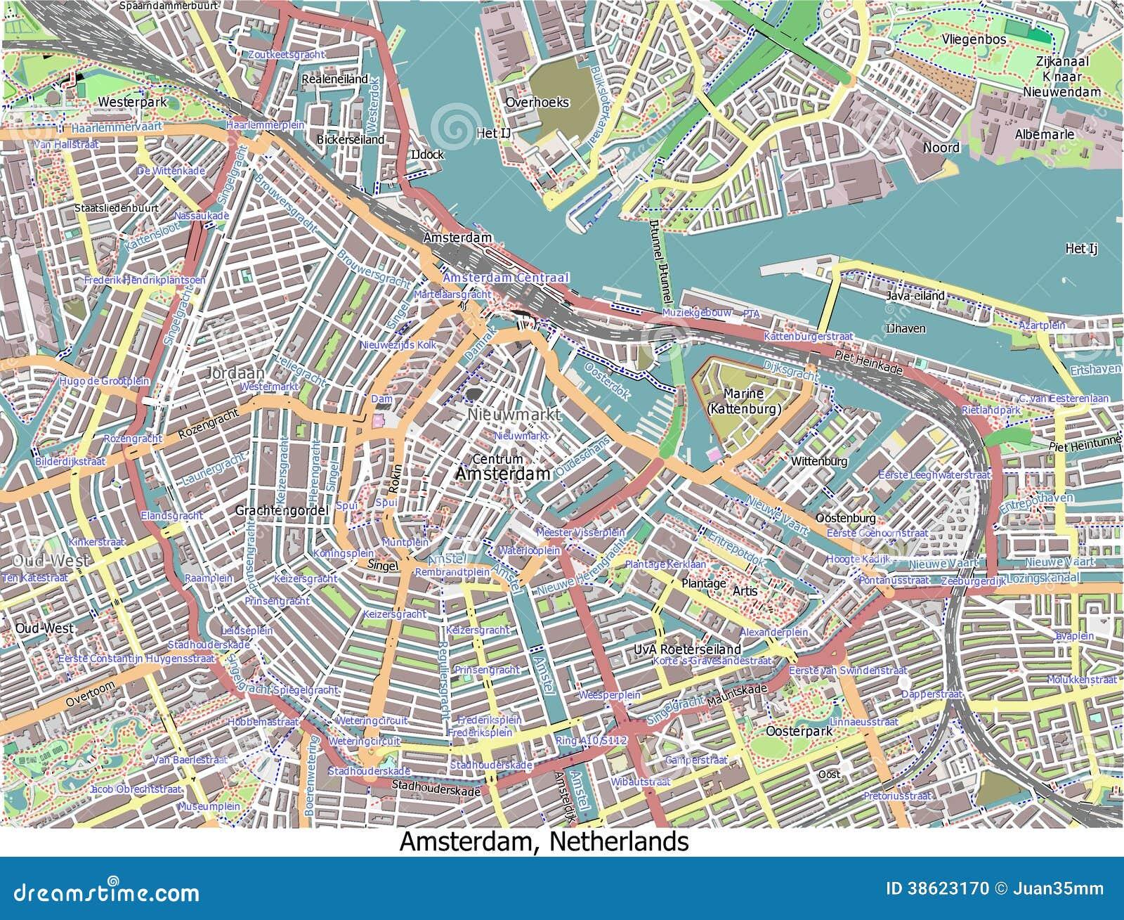 Carte de vue a rienne de recherche d 39 amsterdam pays bas salut photo stock - Carte amsterdam a imprimer ...