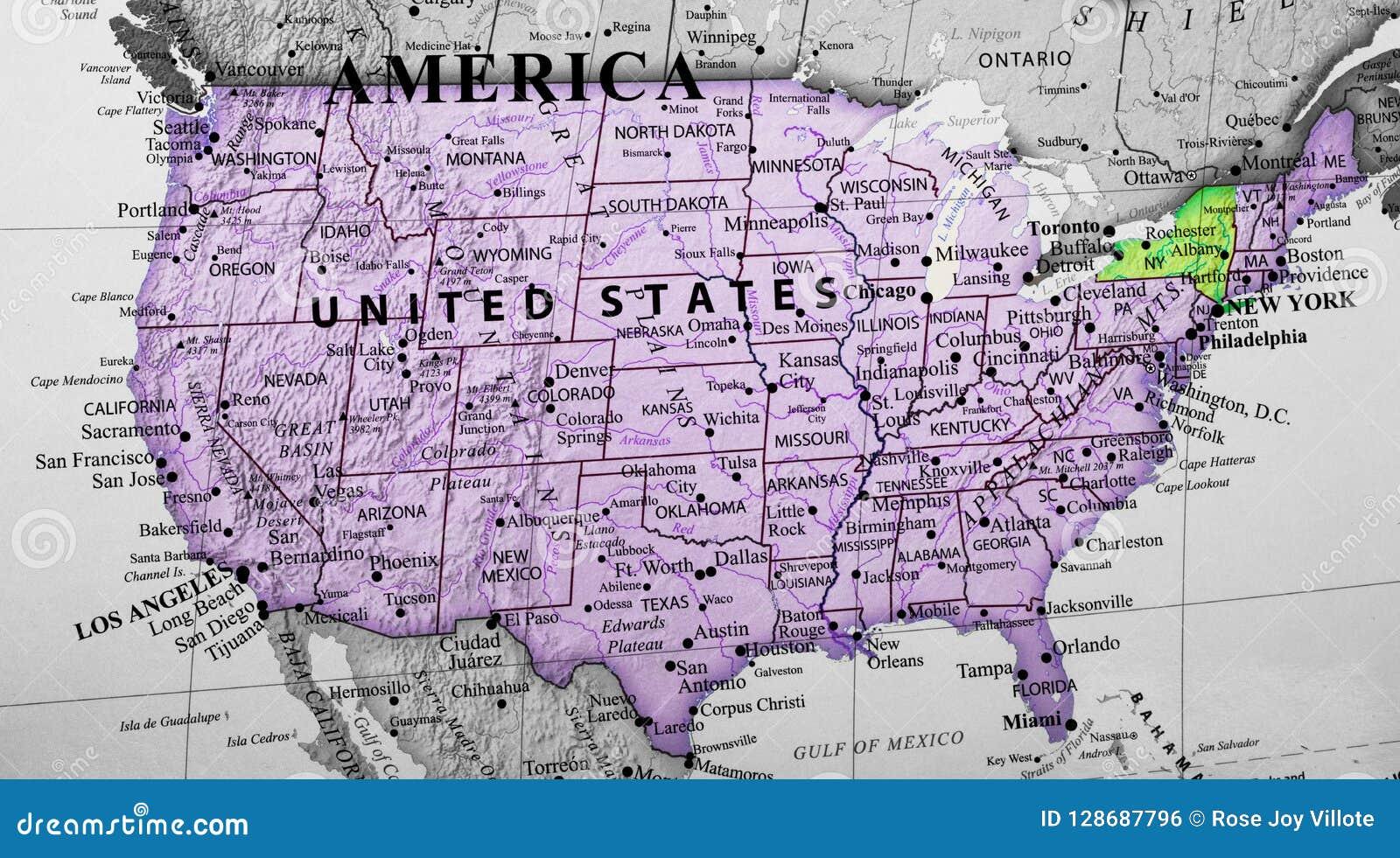 Carte Des Etats Unis D Amérique Accentuant L état De New York Photo Stock Image Du Canada Emplacement 128687796