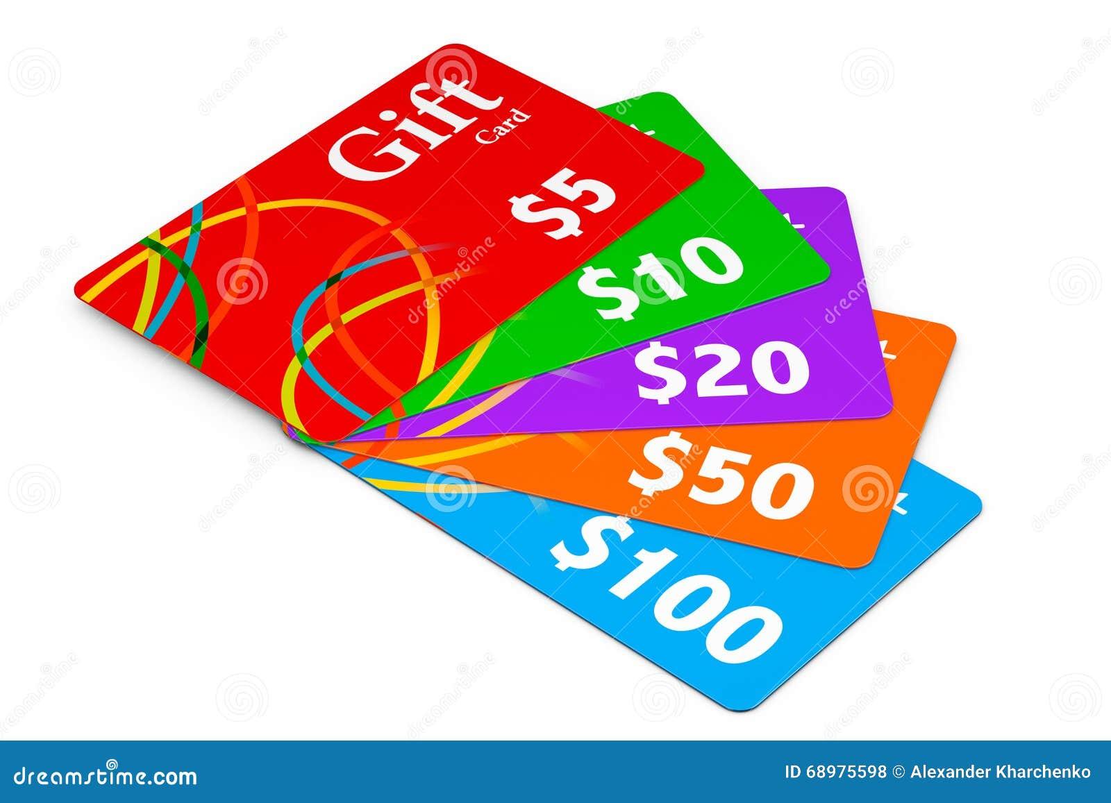 Carte di regalo multicolori